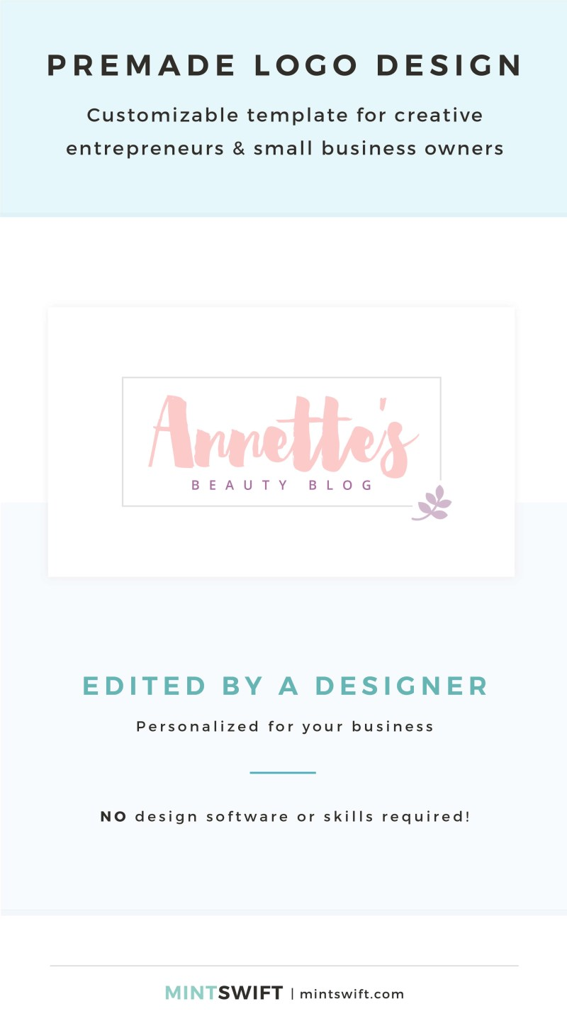 Annette's Premade Logo - Customizable template for creative entrepreneurs & small business owners – MintSwift Shop