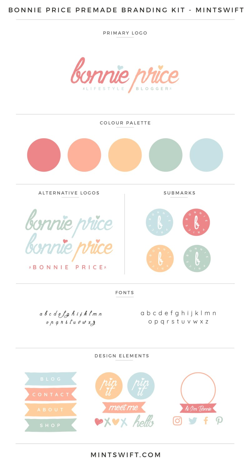 Bonnie Price Premade Branding Kit | Branding Kit | Premade logo | Pre-made logo | Pre-made branding kit | Premade Brand Design| Branding | Brand Design | Website Design Kit | Blog Design Kit | Blog kit | Website kit | Website elements | Blog elements | Design elements | Branding kits shop | MintSwift Shop | Premade logo design | Add-On | Logo Design | MintSwift| Adrianna Glowacka | MintSwift Design