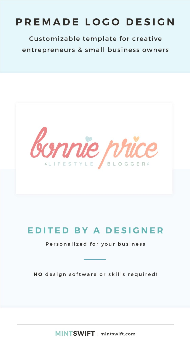 Bonnie Price Premade Logo - Customizable template for creative entrepreneurs & small business owners – MintSwift Shop