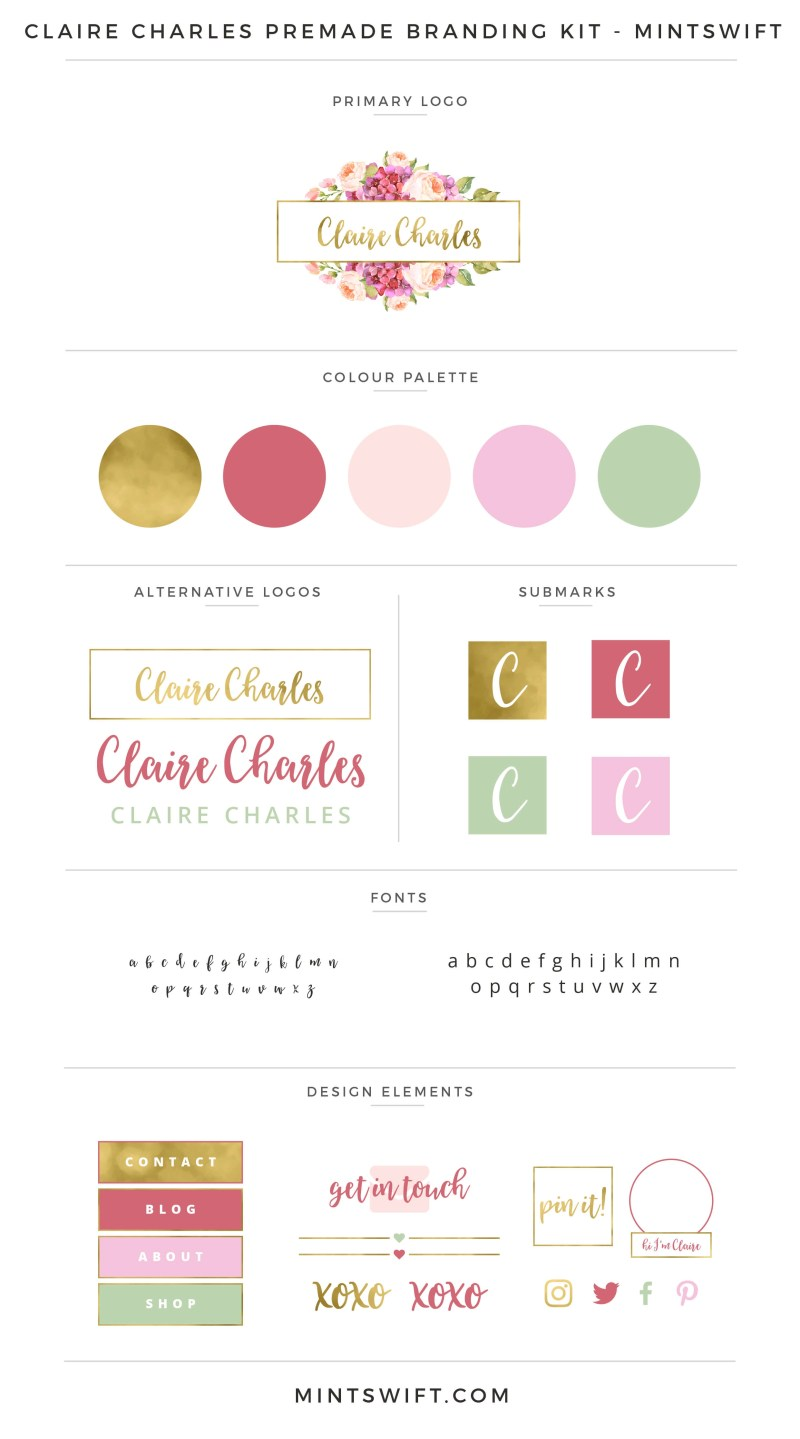 Claire Charles Premade Branding Kit – MintSwift