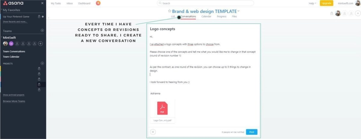 How I use Asana to manage my brand & web design package. How I send out concepts and revisions using conversations feature in Asana - MintSwift