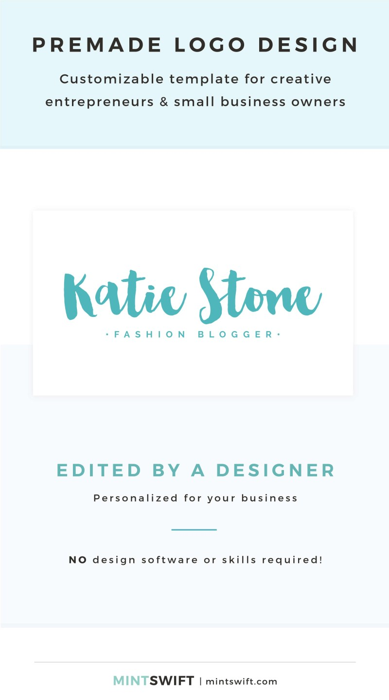 Katie Stone Premade Logo - Customizable template for creative entrepreneurs & small business owners – MintSwift Shop