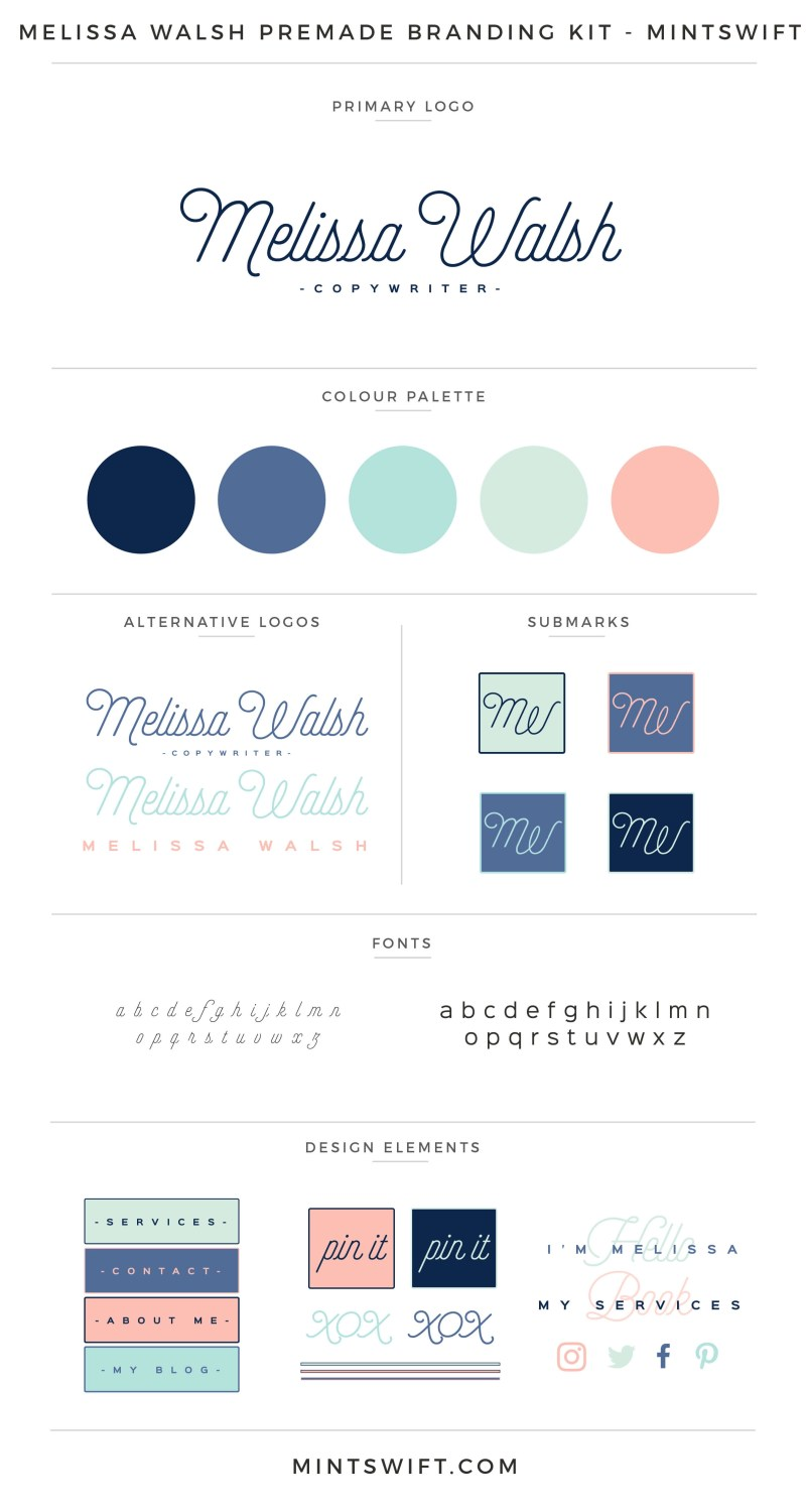 Melissa Walsh Premade Branding Kit | Branding Kit | Premade logo | Pre-made logo | Pre-made branding kit | Premade Brand Design| Branding | Brand Design | Website Design Kit | Blog Design Kit | Blog kit | Website kit | Website elements | Blog elements | Design elements | Branding kits shop | MintSwift Shop | Premade logo design | Add-On | Logo Design | MintSwift| Adrianna Glowacka | MintSwift Design