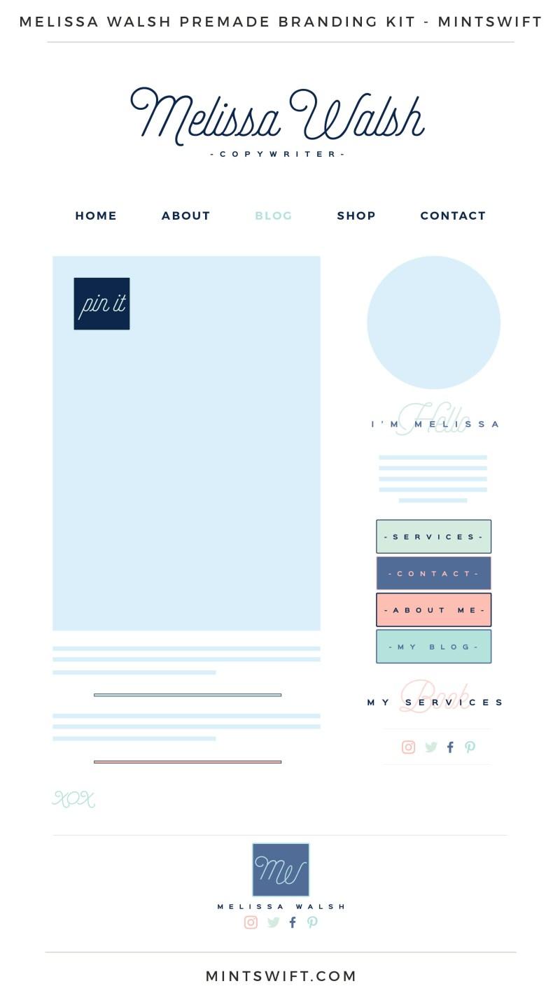 Melissa Walsh Premade Branding, Website & Blog Design Kit – MintSwift