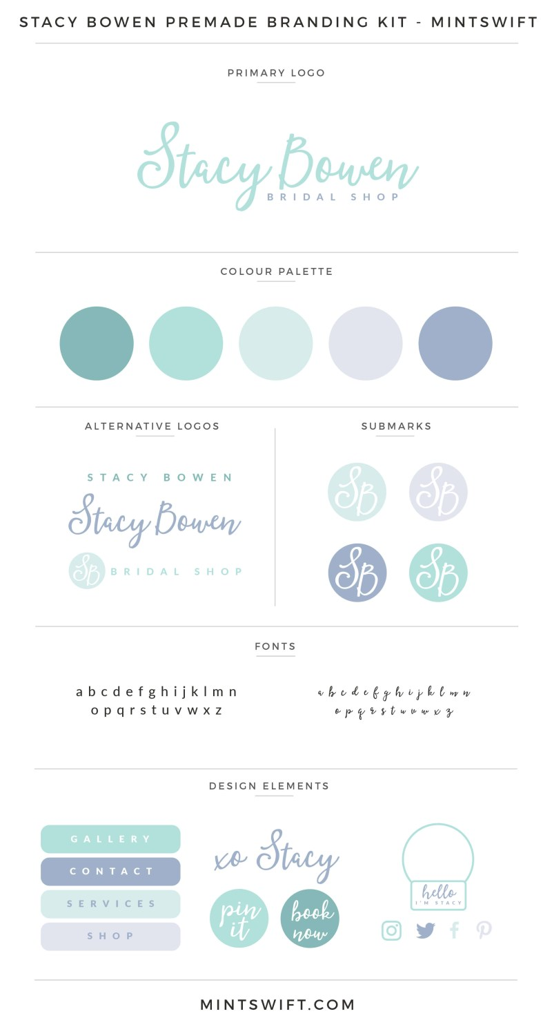 Stacy Bowen Premade Branding Kit | Branding Kit | Premade logo | Pre-made logo | Pre-made branding kit | Premade Brand Design| Branding | Brand Design | Website Design Kit | Blog Design Kit | Blog kit | Website kit | Website elements | Blog elements | Design elements | Branding kits shop | MintSwift Shop | Premade logo design | Add-On | Logo Design | MintSwift| Adrianna Glowacka | MintSwift Design
