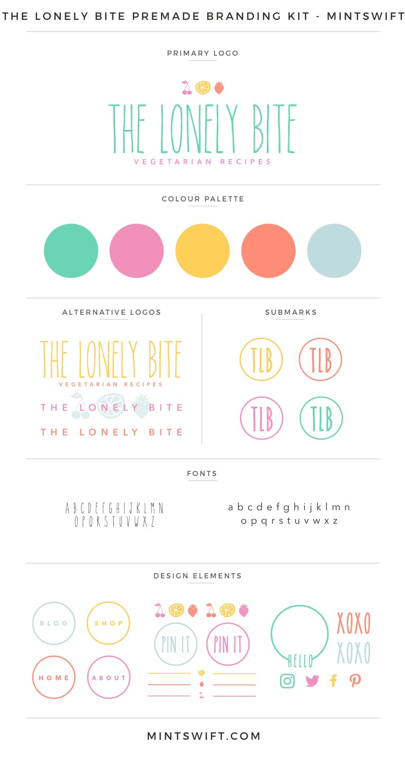 The Lonely Bite Premade Branding Kit | Branding Kit | Premade logo | Pre-made logo | Pre-made branding kit | Premade Brand Design| Branding | Brand Design | Website Design Kit | Blog Design Kit | Blog kit | Website kit | Website elements | Blog elements | Design elements | Branding kits shop | MintSwift Shop | Premade logo design | Add-On | Logo Design | MintSwift| Adrianna Glowacka | MintSwift Design