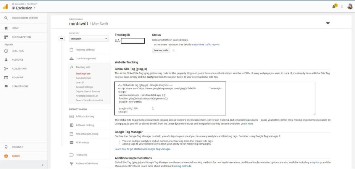 Finding the Google Analytics Tracking Code - How to Add Google Analytics to WordPress – MintSwift