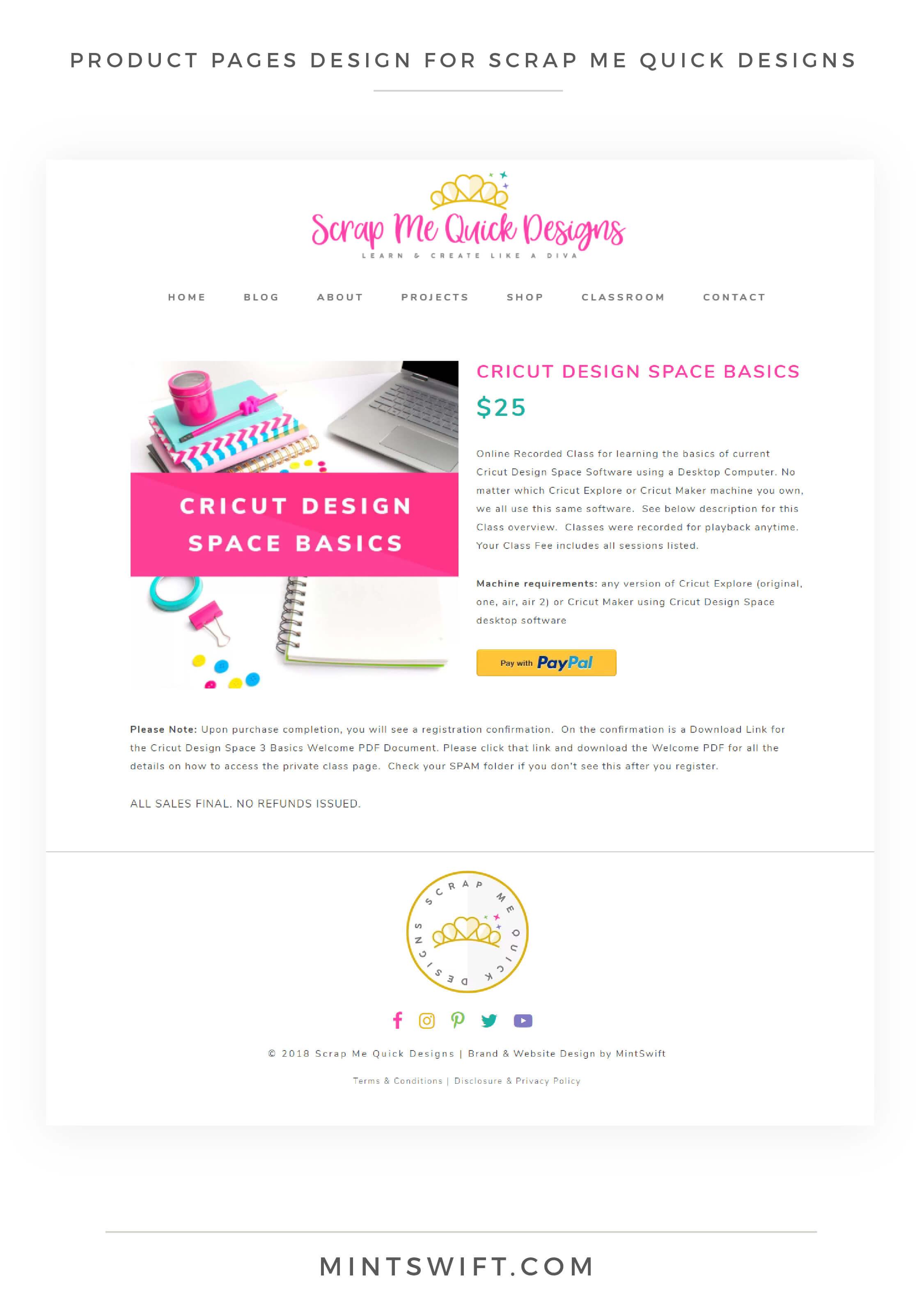 Scrap Me Quick Designs - Product Pages Design - MintSwift
