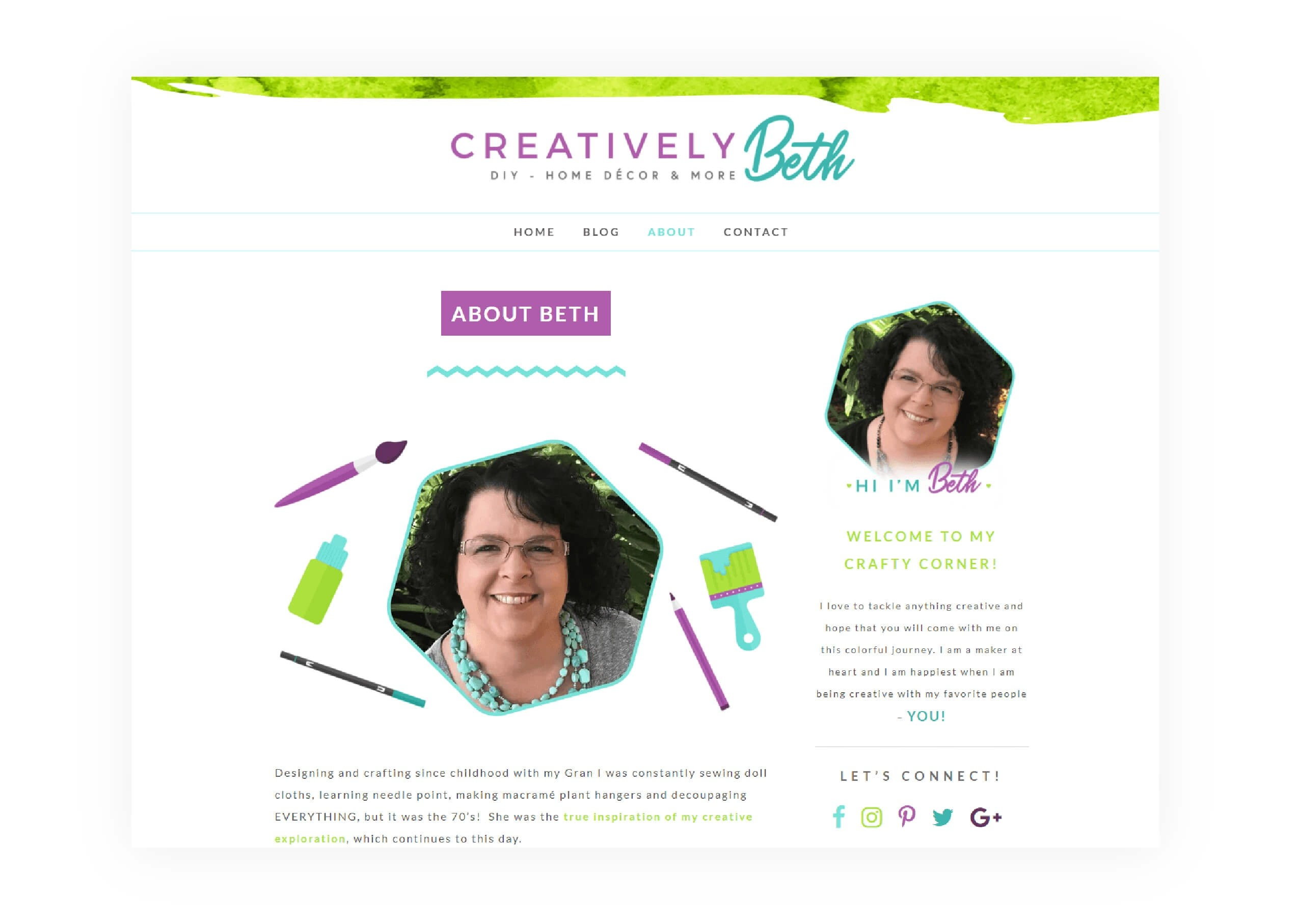 Creatively Beth - About Page Design - MintSwift