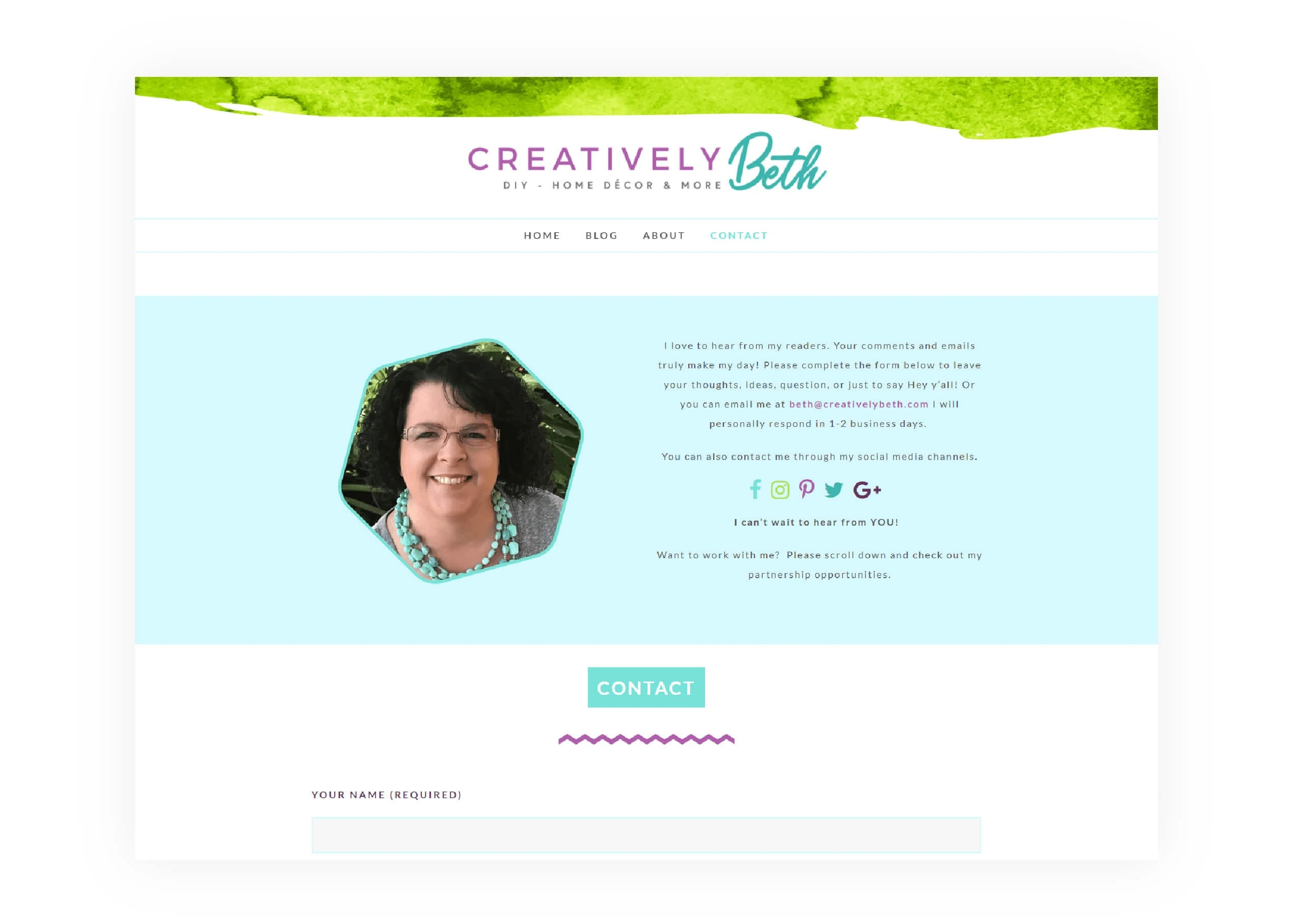 Creatively Beth - Contact Page Design - MintSwift