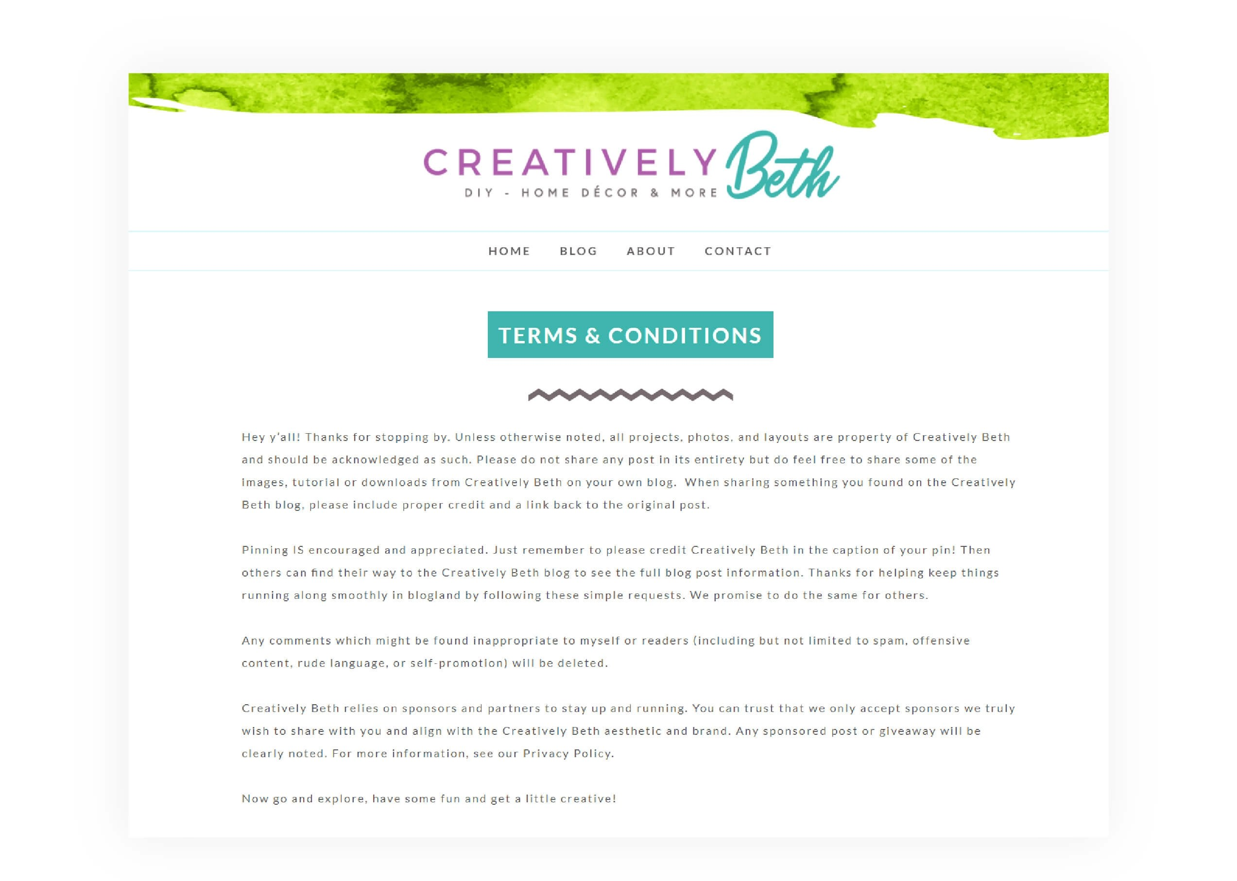 Creatively Beth - Legal Page Design - MintSwift