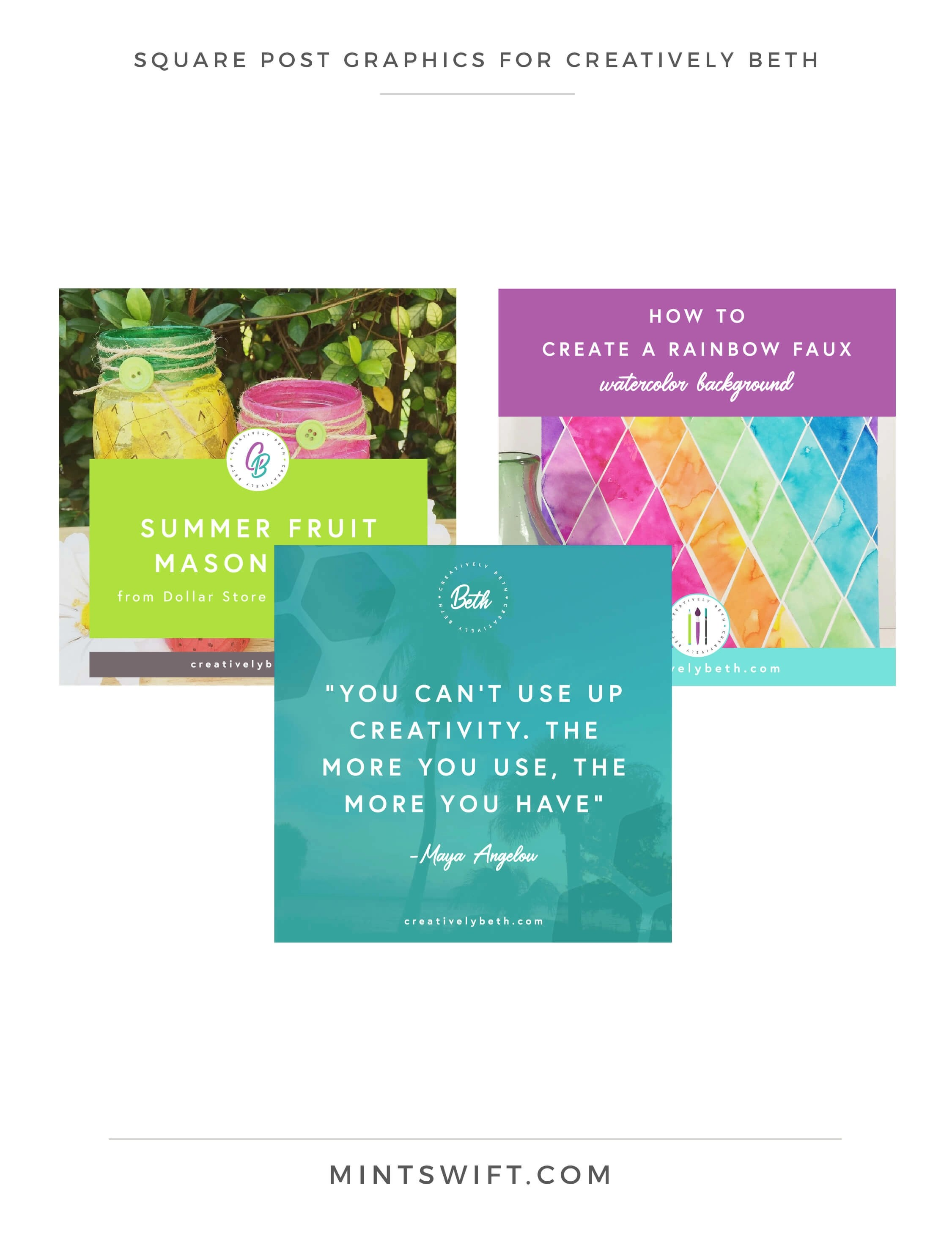 Creatively Beth - Square post graphics - Brand & Website Design - MintSwift