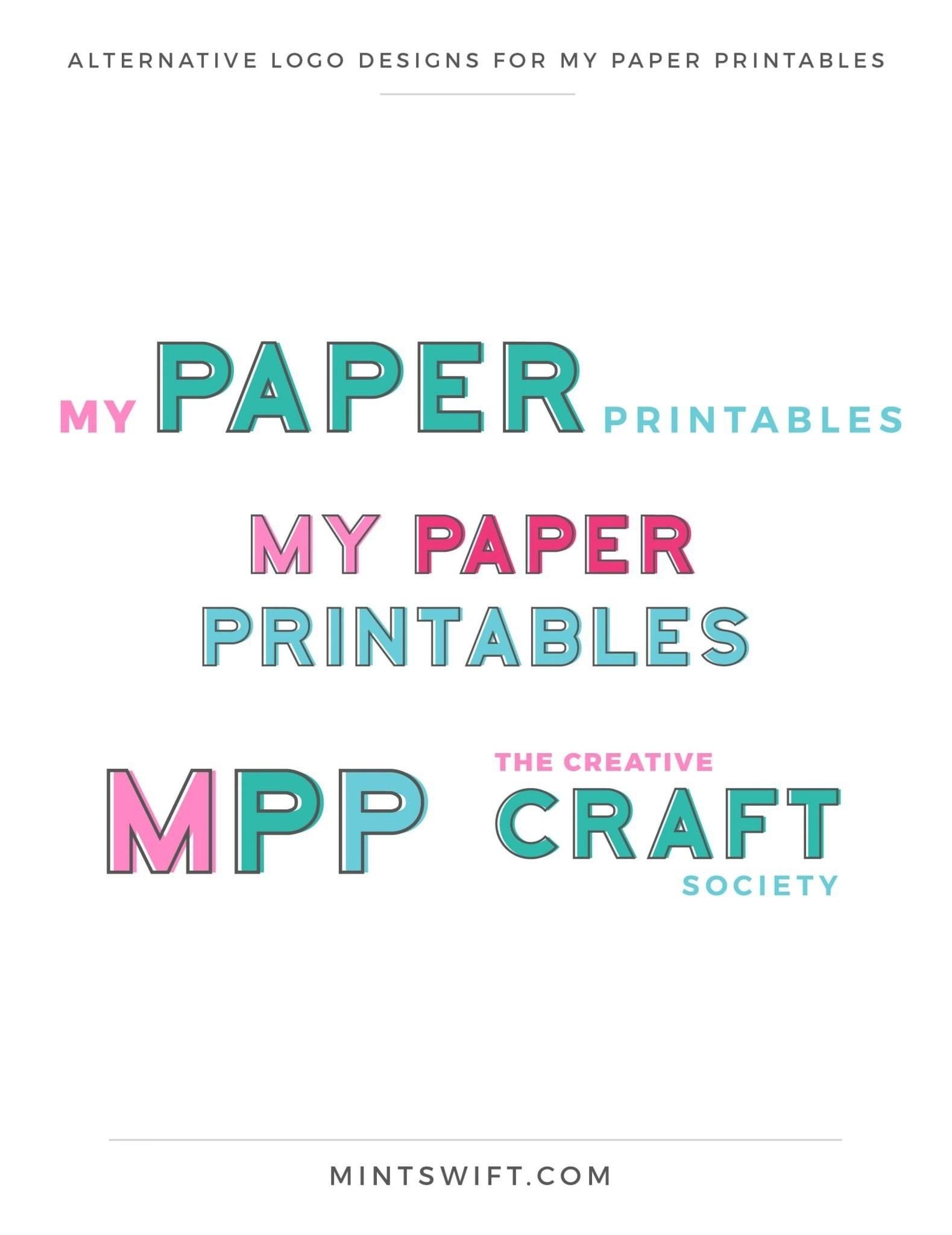 My Paper Printables - Alternative Logo Designs - Brand Design - MintSwift