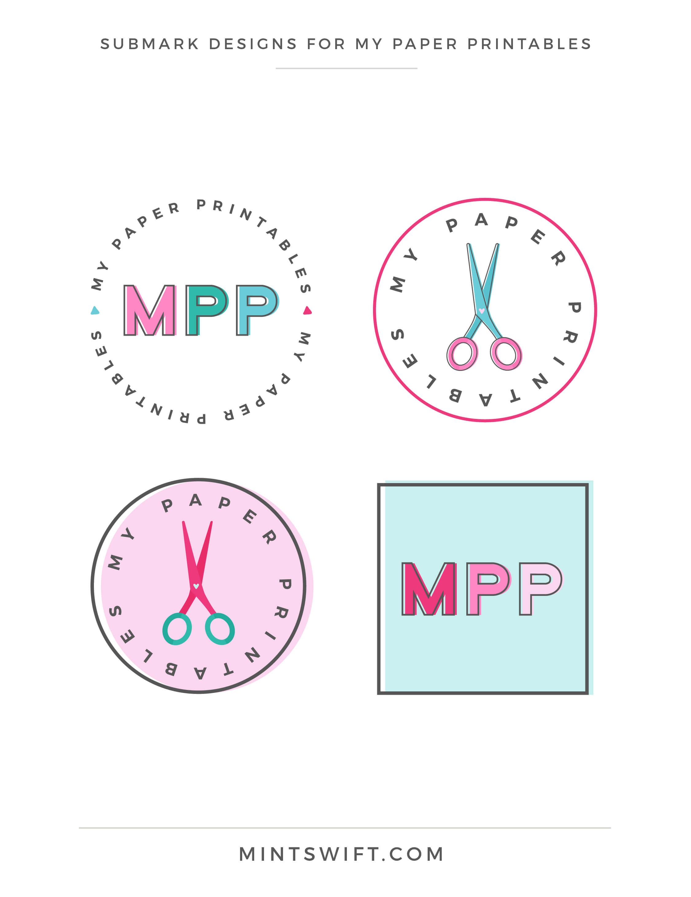 My Paper Printables - Submark Designs - Brand Design - MintSwift