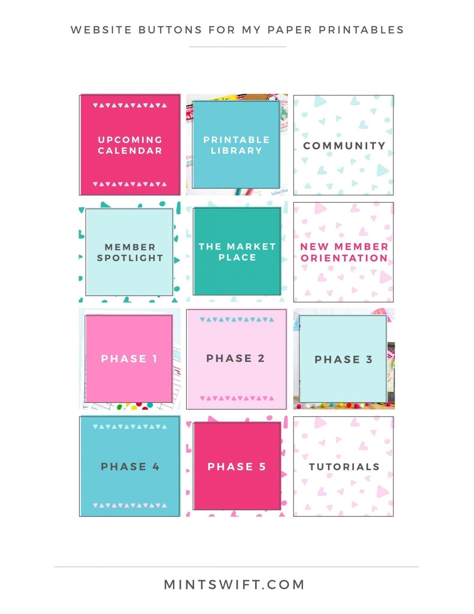 My Paper Printables - Website Buttons - Brand Design - MintSwift