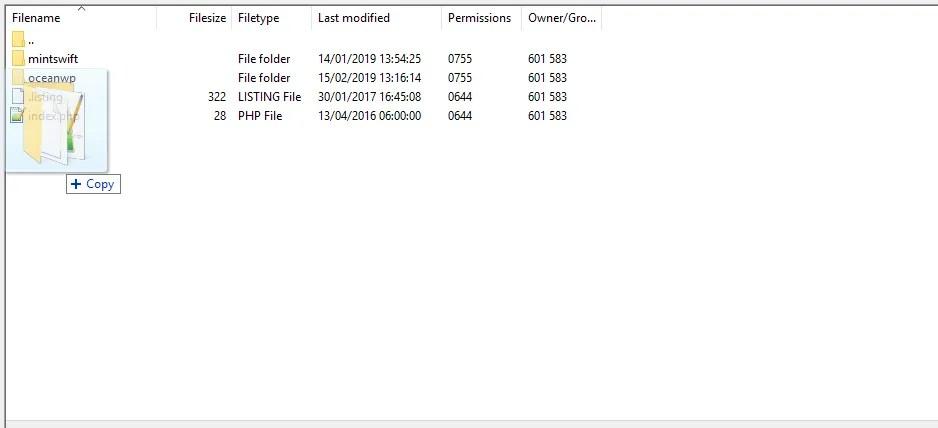 How to install a WordPress theme - manually installing a theme via FTP Filezilla - 4 - MintSwift