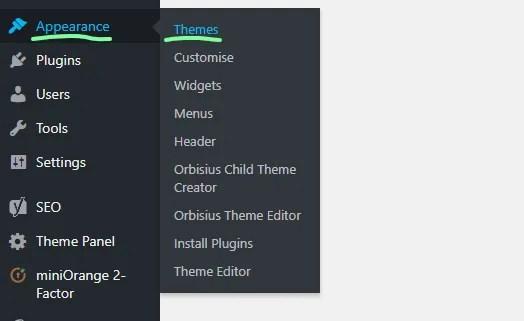How to install a WordPress theme - using the WordPress theme search - 1 - MintSwift