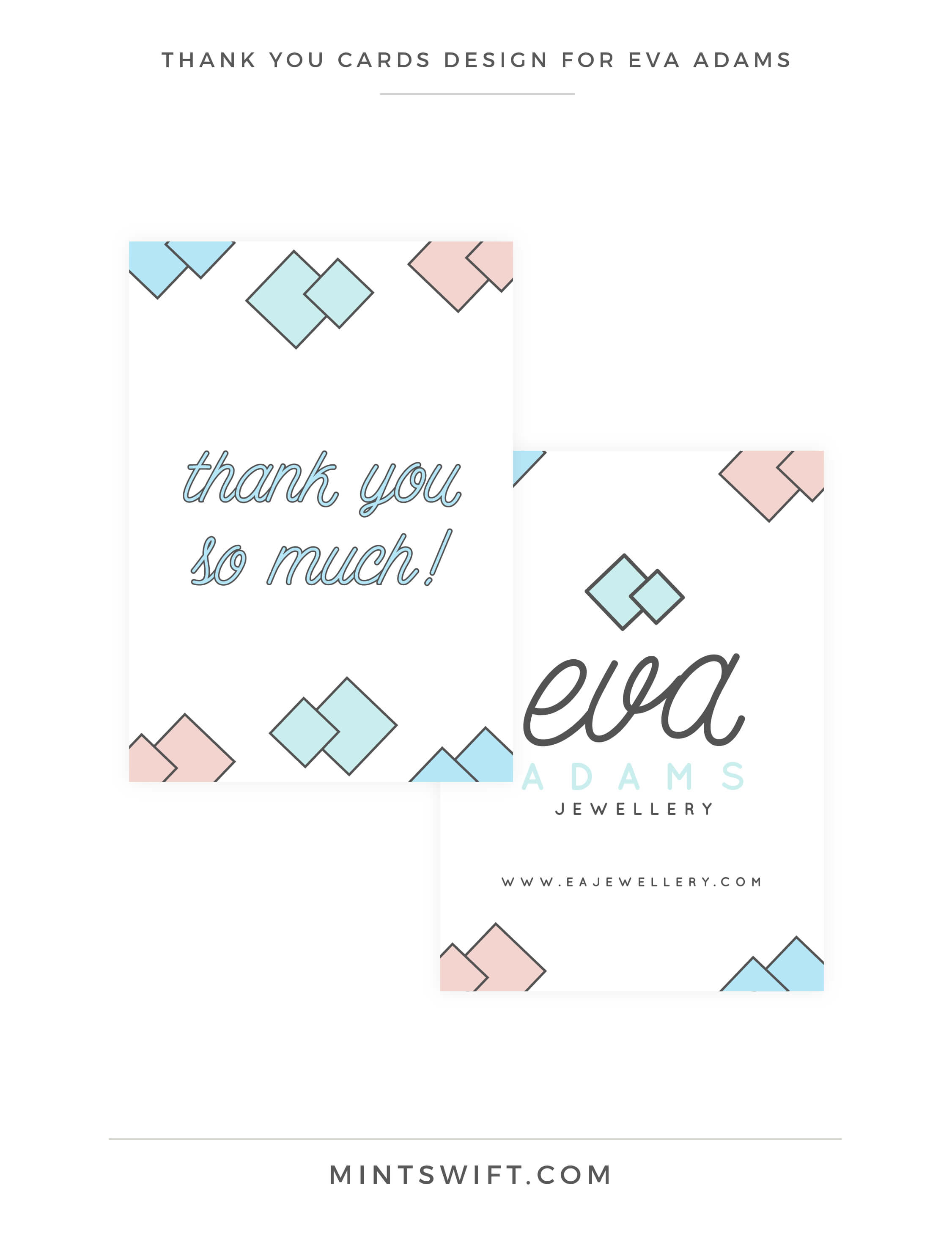 Eva Adams - Thank you cards design - MintSwift