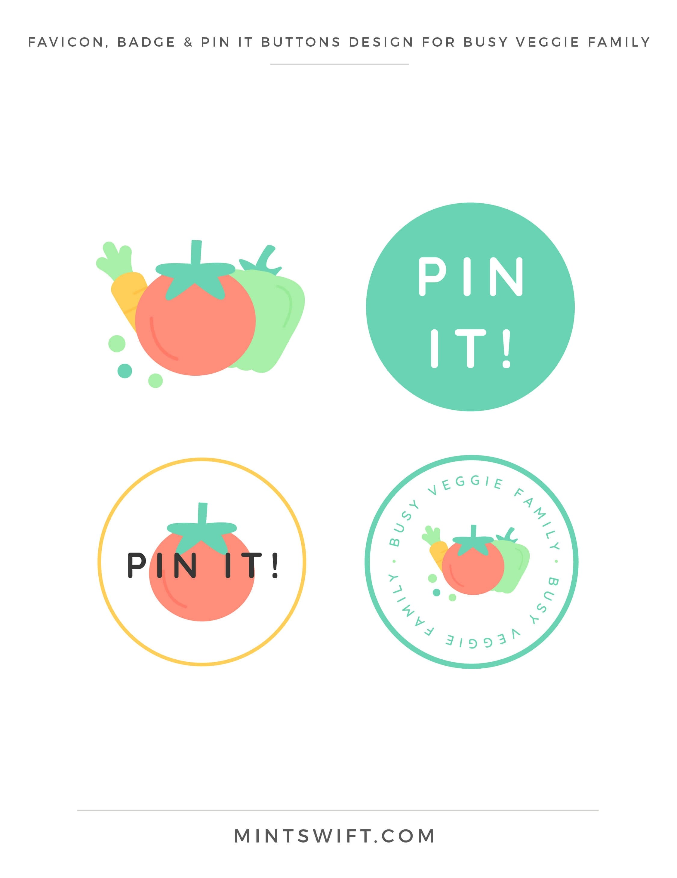 Busy Veggie Family - Favicon, Badge & Pin It Buttons Design - Brand & Website Design Package - MintSwift