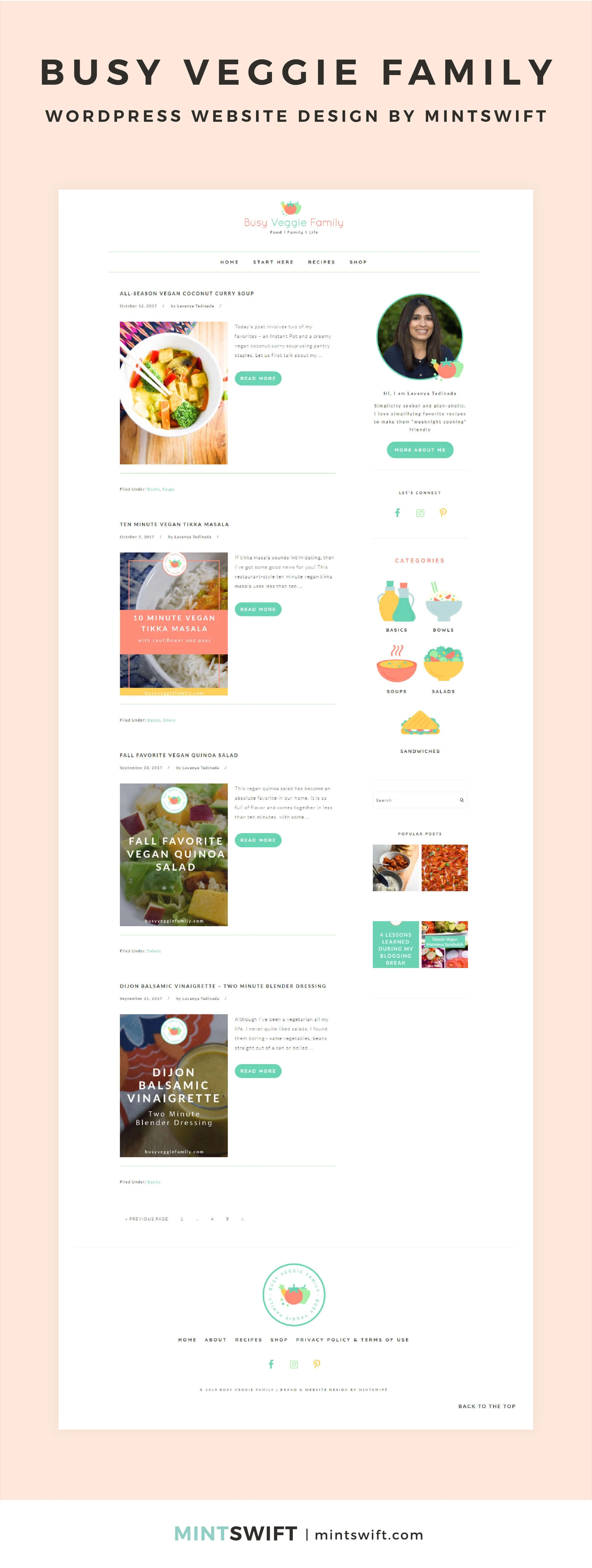 Busy Veggie Family - WordPress Website Design by MintSwift