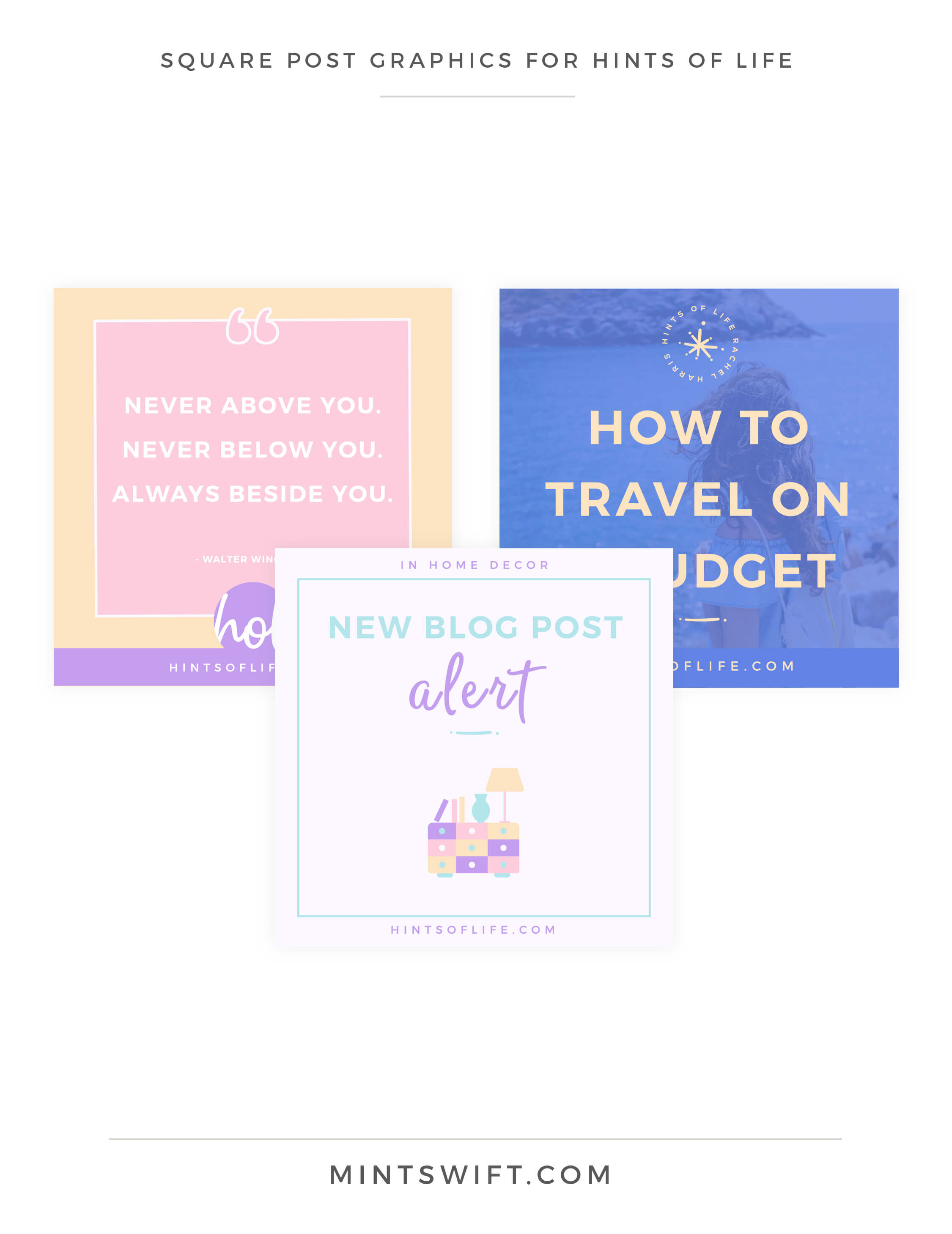 Hints of Life - Square Post Graphics - Brand Design Package - MintSwift