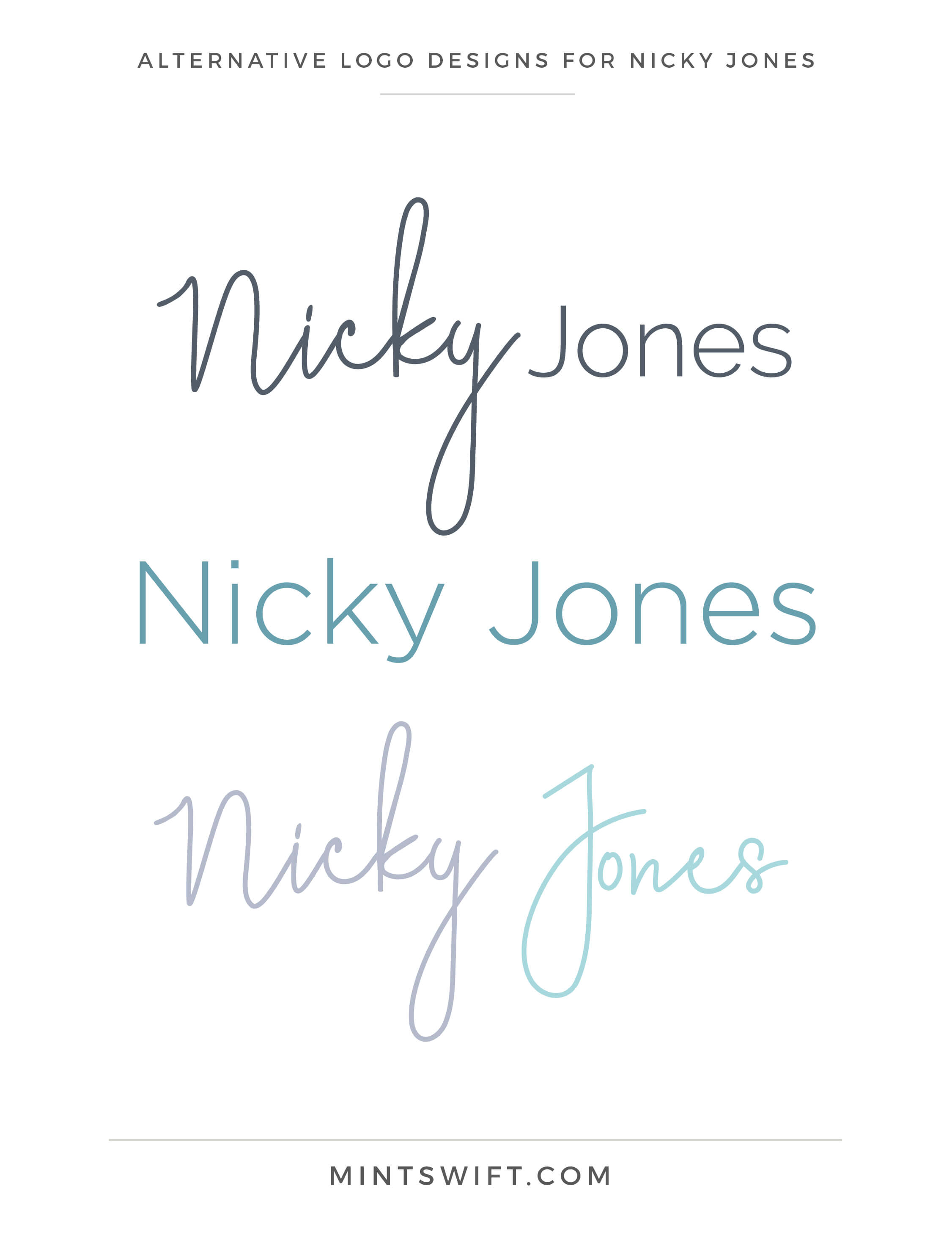 Nicky Jones - Alternative Logo Designs - Brand Design Package - MintSwift