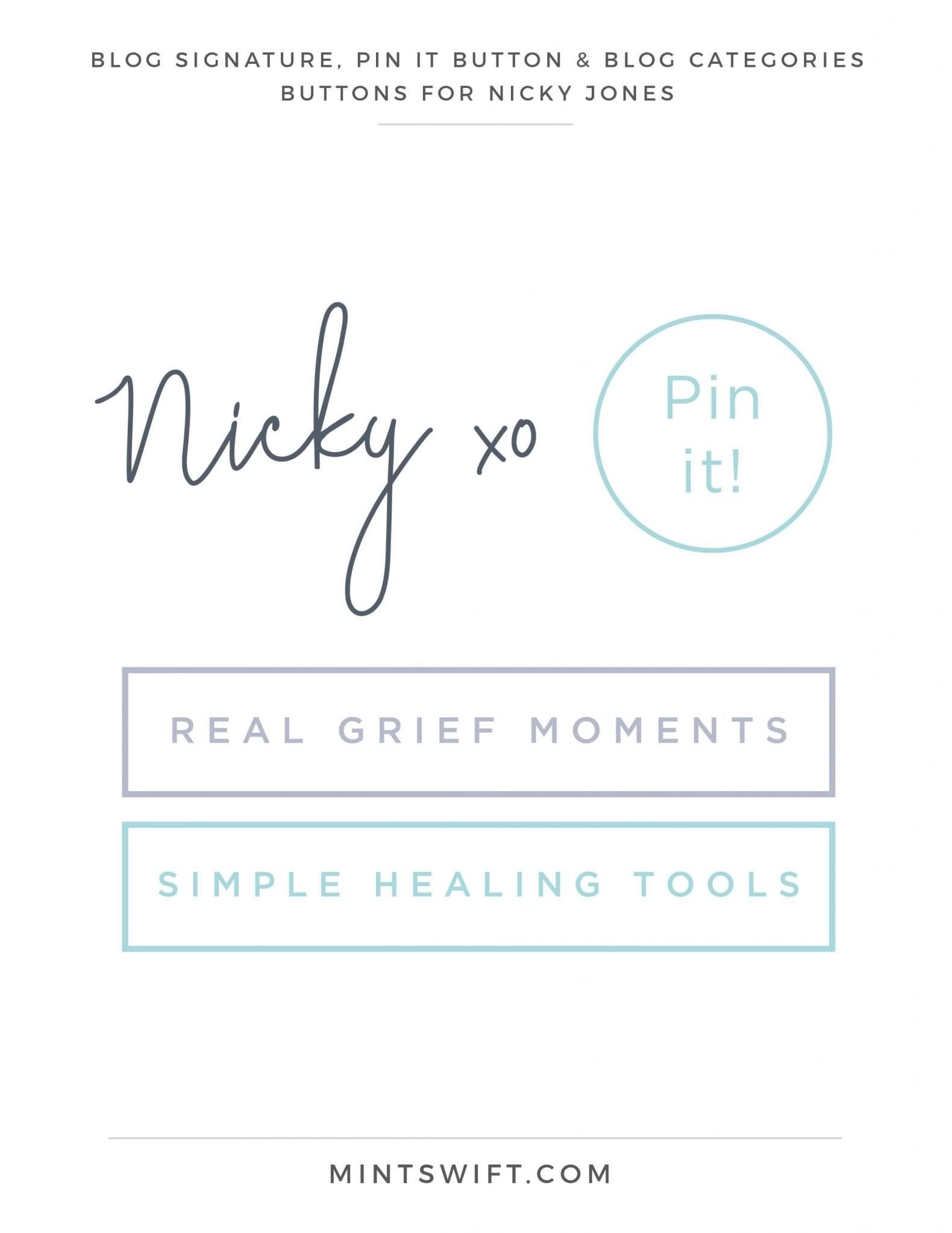 Nicky Jones - Blog Signature, Pin It Button & Blog Categories - Brand Design Package - MintSwift