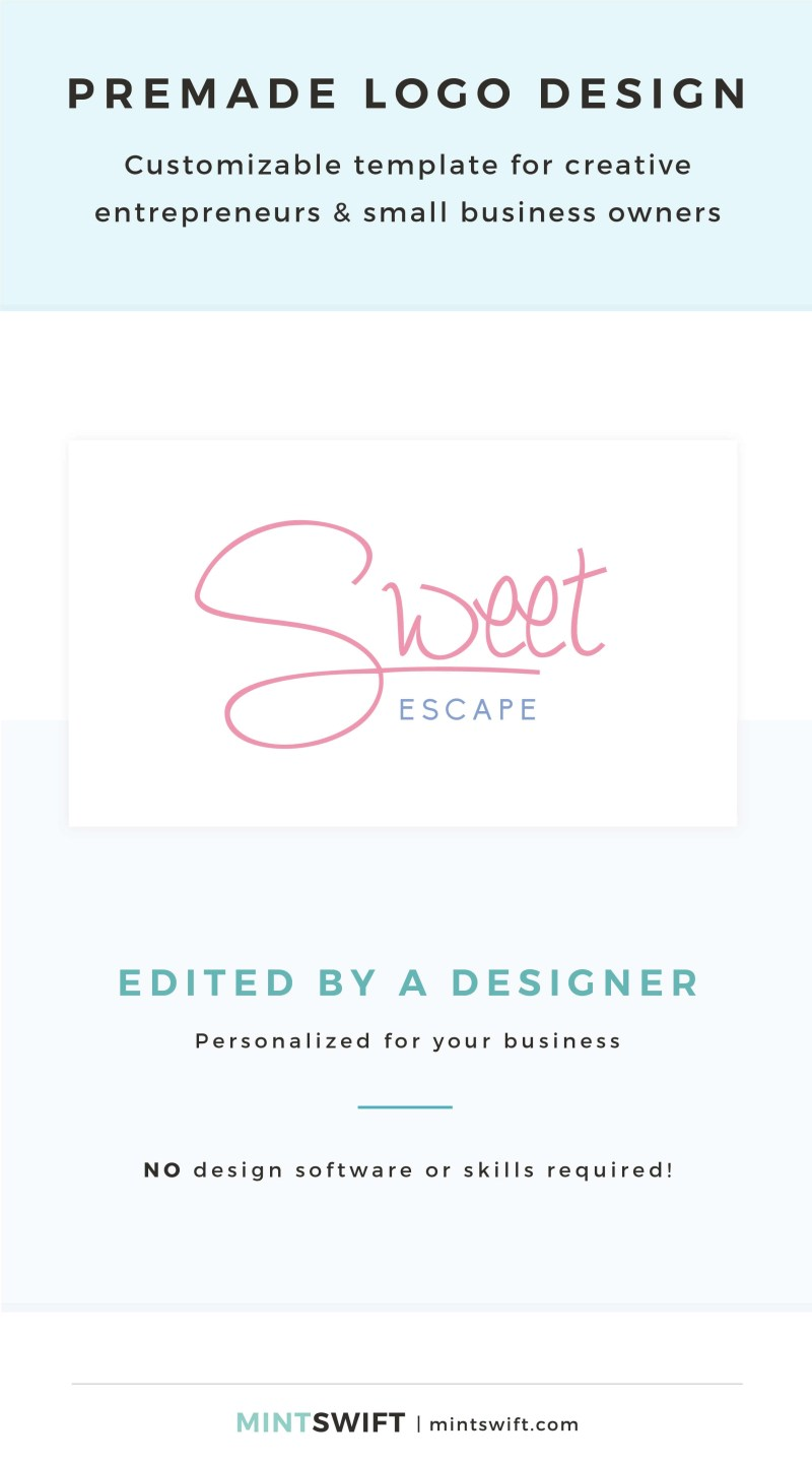 Sweet Escape Premade Logo - Customizable template for creative entrepreneurs & small business owners – MintSwift Shop