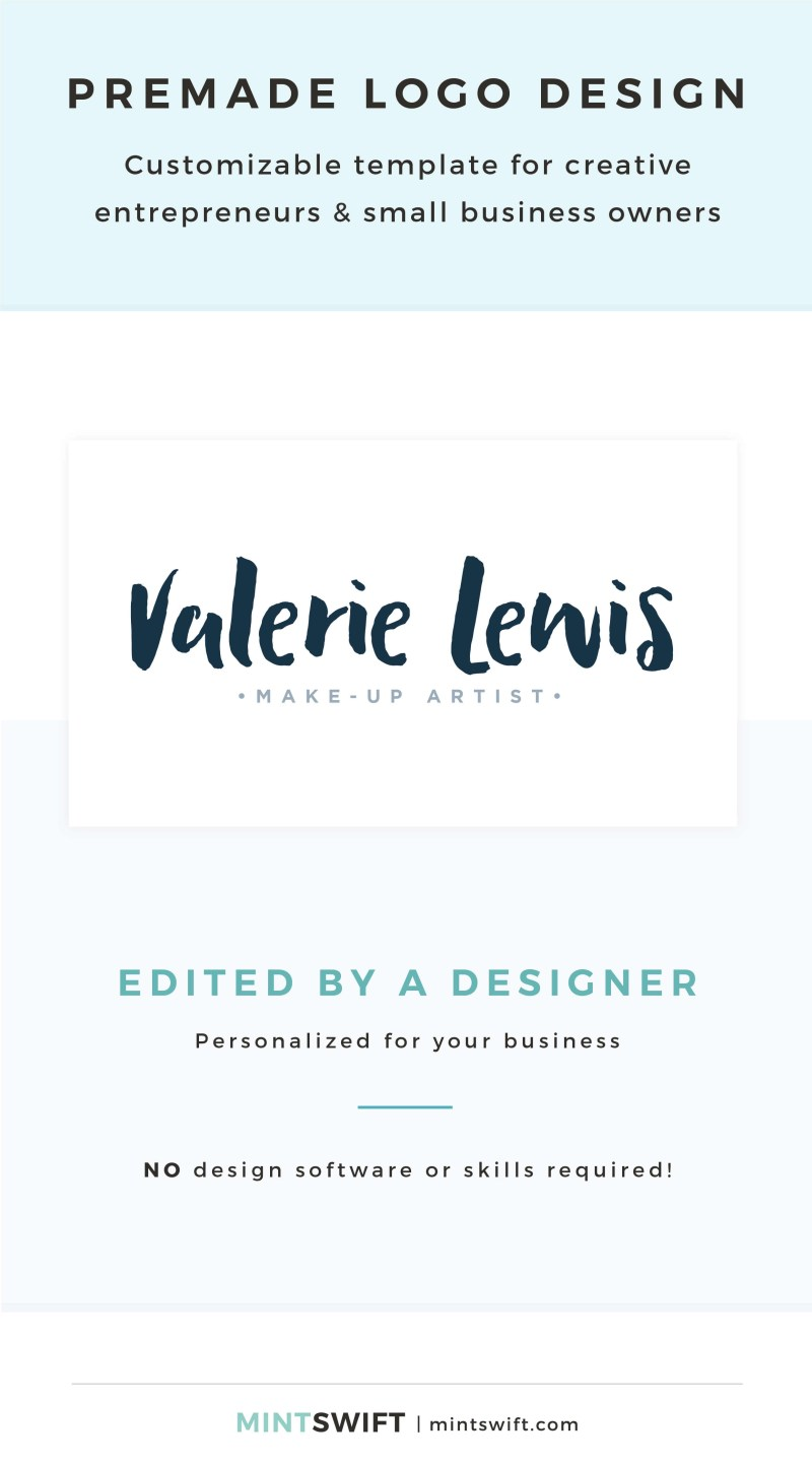 Valerie Lewis Premade Logo - Customizable template for creative entrepreneurs & small business owners – MintSwift Shop