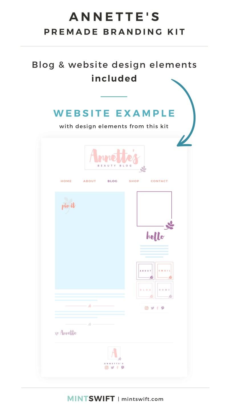 Annette's Premade Branding Kit - Blog & Website design elements included - MintSwift Shop