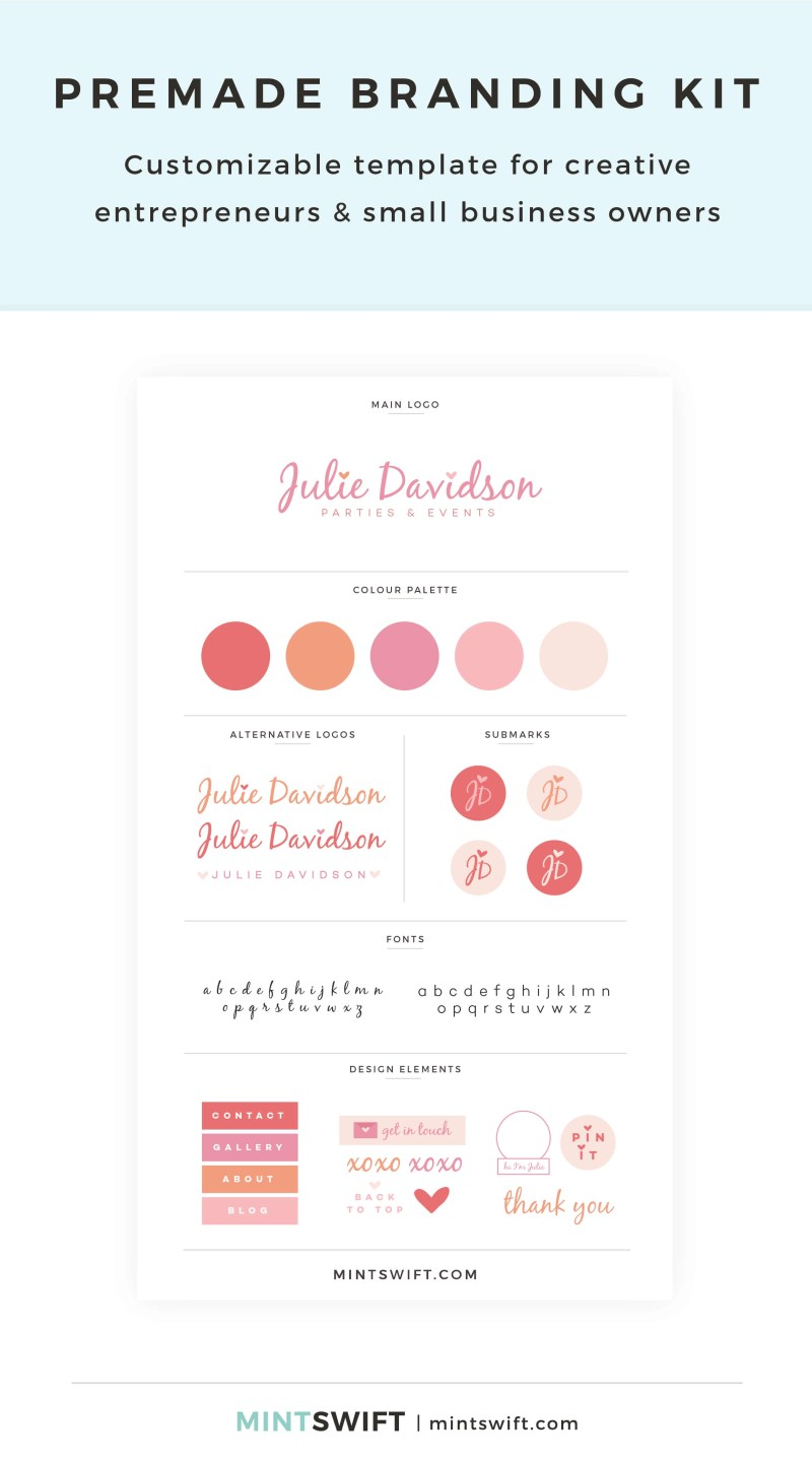 Julie Davidson Premade Branding Kit – Customizable template for creative entrepreneurs & small business owners – MintSwift Shop