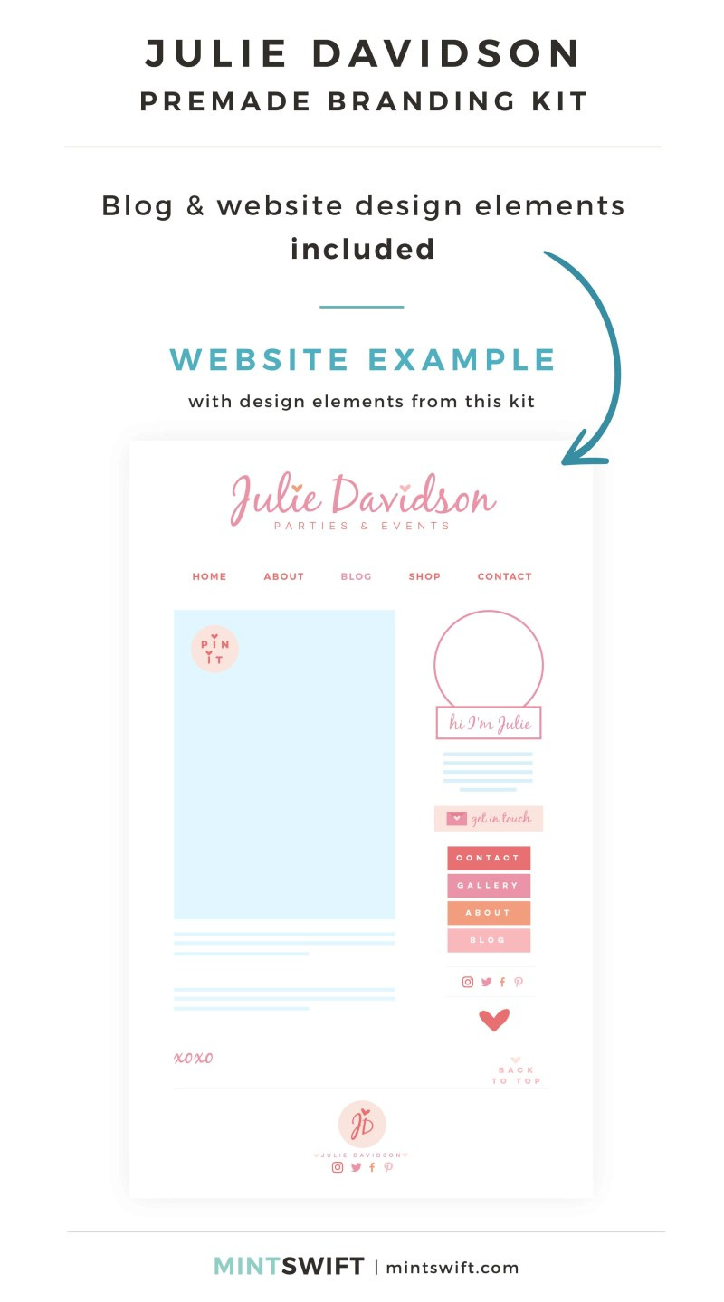 Julie Davidson Premade Branding Kit - Blog & Website design elements included - MintSwift Shop