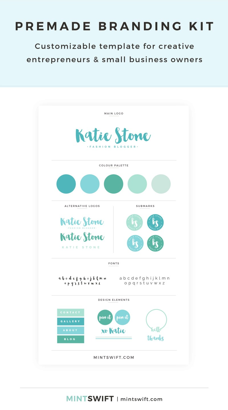 Katie Stone Premade Branding Kit – Customizable template for creative entrepreneurs & small business owners – MintSwift Shop