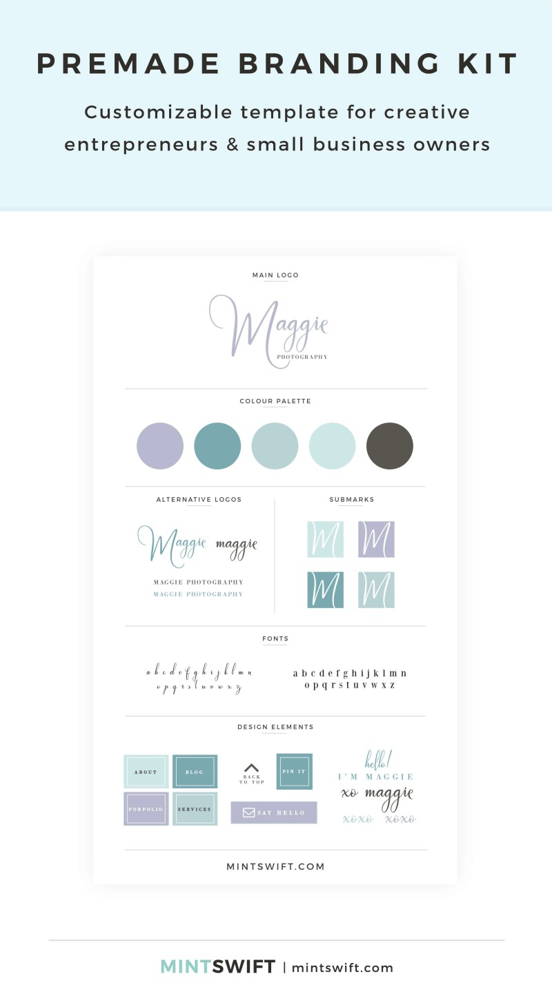 Maggie Premade Branding Kit – Customizable template for creative entrepreneurs & small business owners – MintSwift Shop