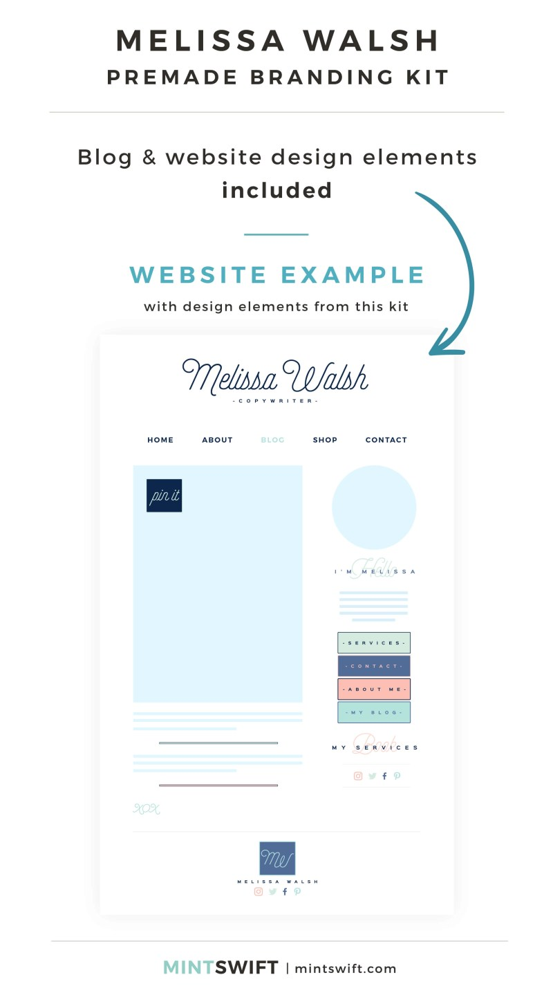 Melissa Walsh Premade Branding Kit - Blog & Website design elements included - MintSwift Shop