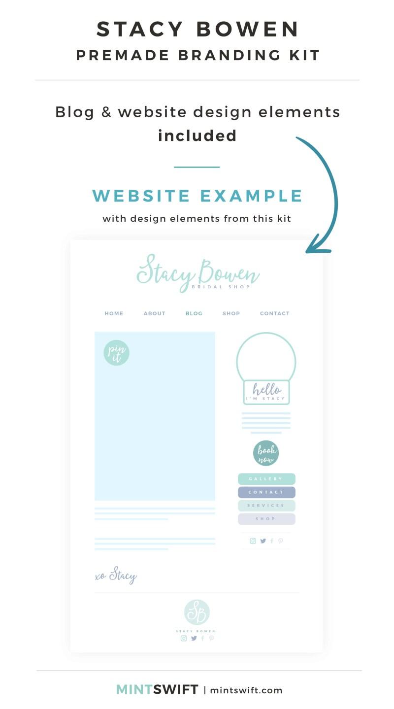 Stacy Bowen Premade Branding Kit - Blog & Website design elements included - MintSwift Shop