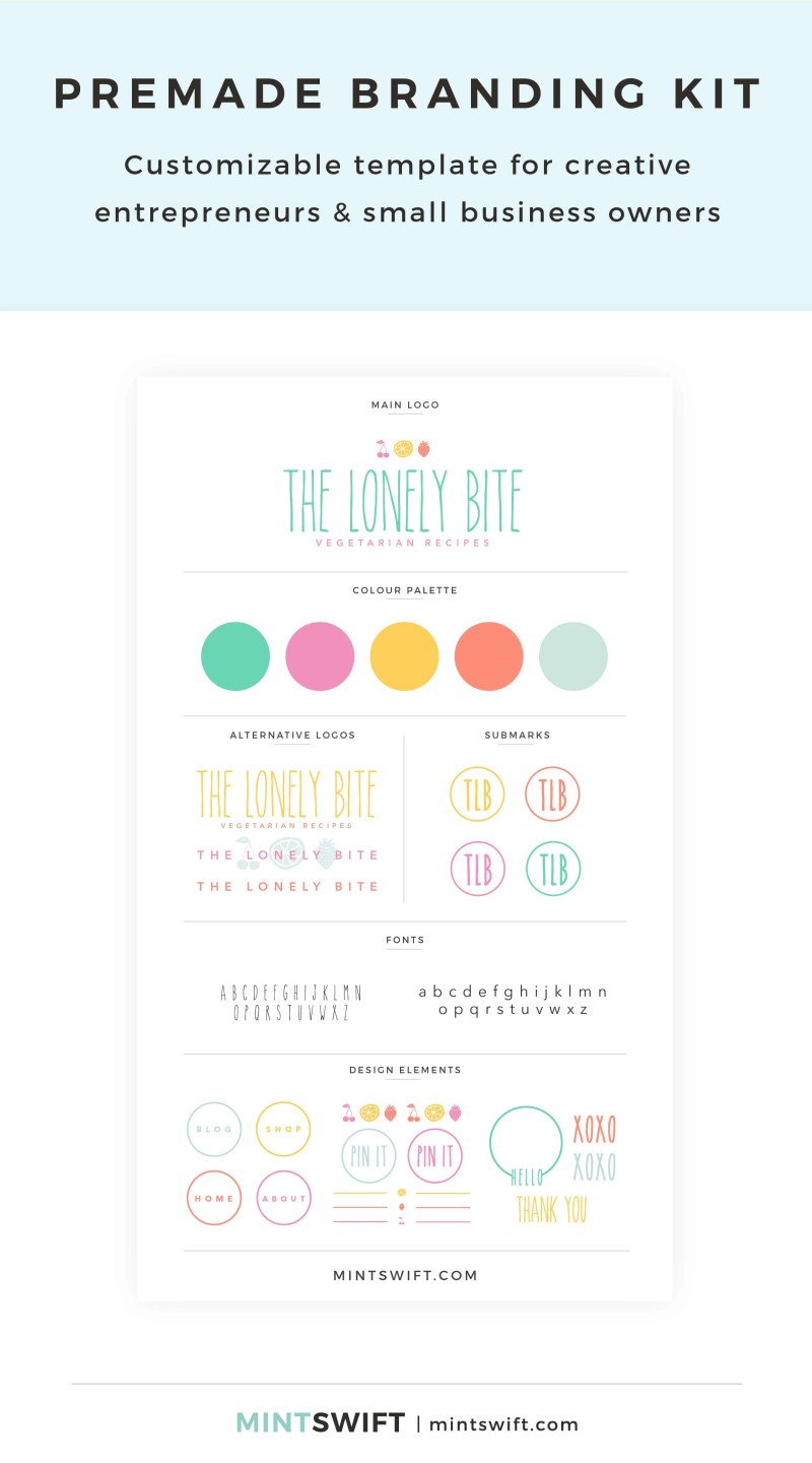 The Lonely Bite Premade Branding Kit – Customizable template for creative entrepreneurs & small business owners – MintSwift Shop