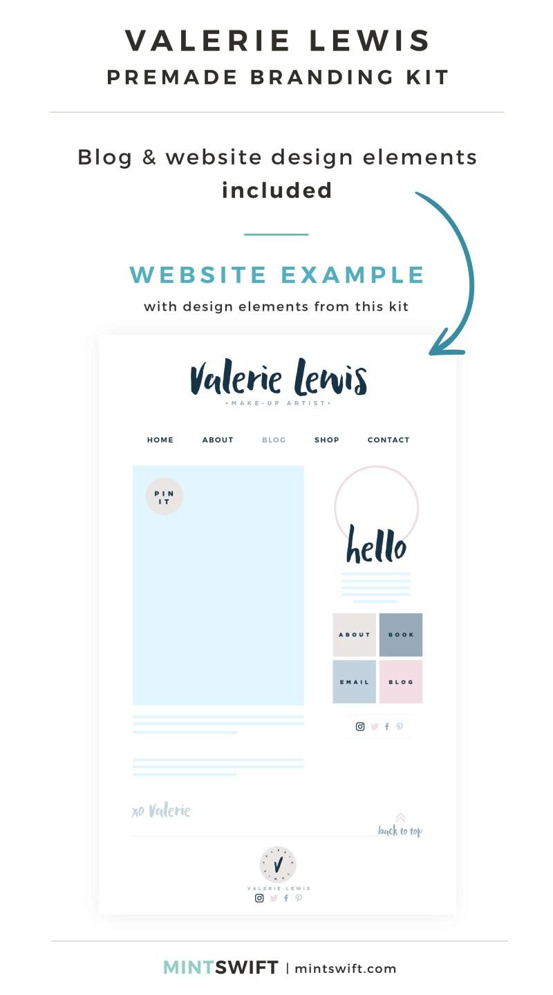 Valerie Lewis Premade Branding Kit - Blog & Website design elements included - MintSwift Shop