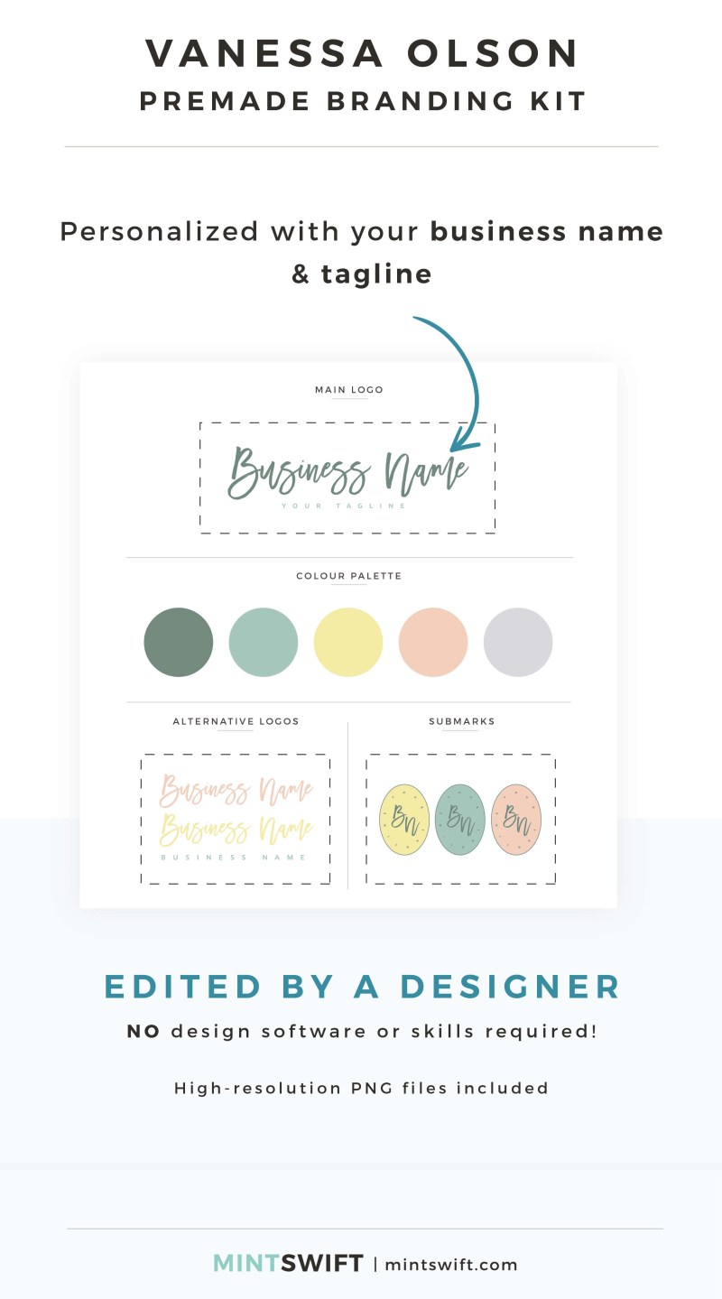 Vanessa Olson Premade Branding Kit - Personalized with your business name & tagline – MintSwift Shop