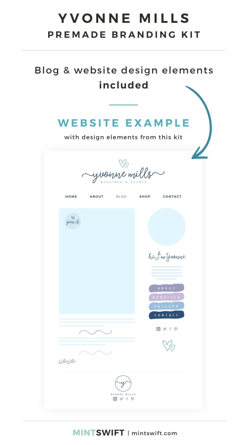 Yvonne Mills Premade Branding Kit - Blog & Website design elements included - MintSwift Shop
