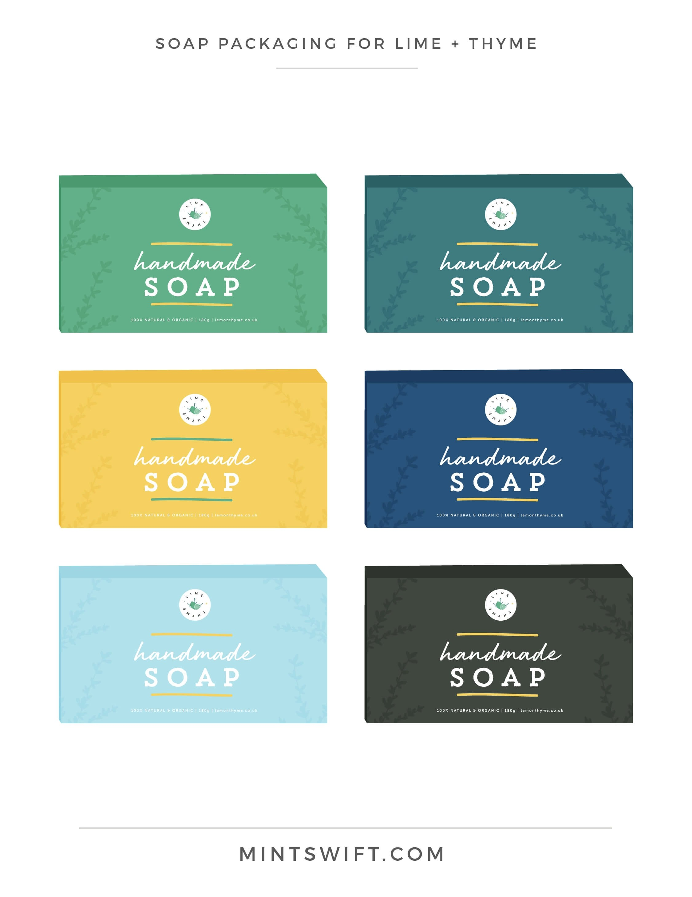 Lime + Thyme - Soap Packaging - Brand & Website Design - MintSwift