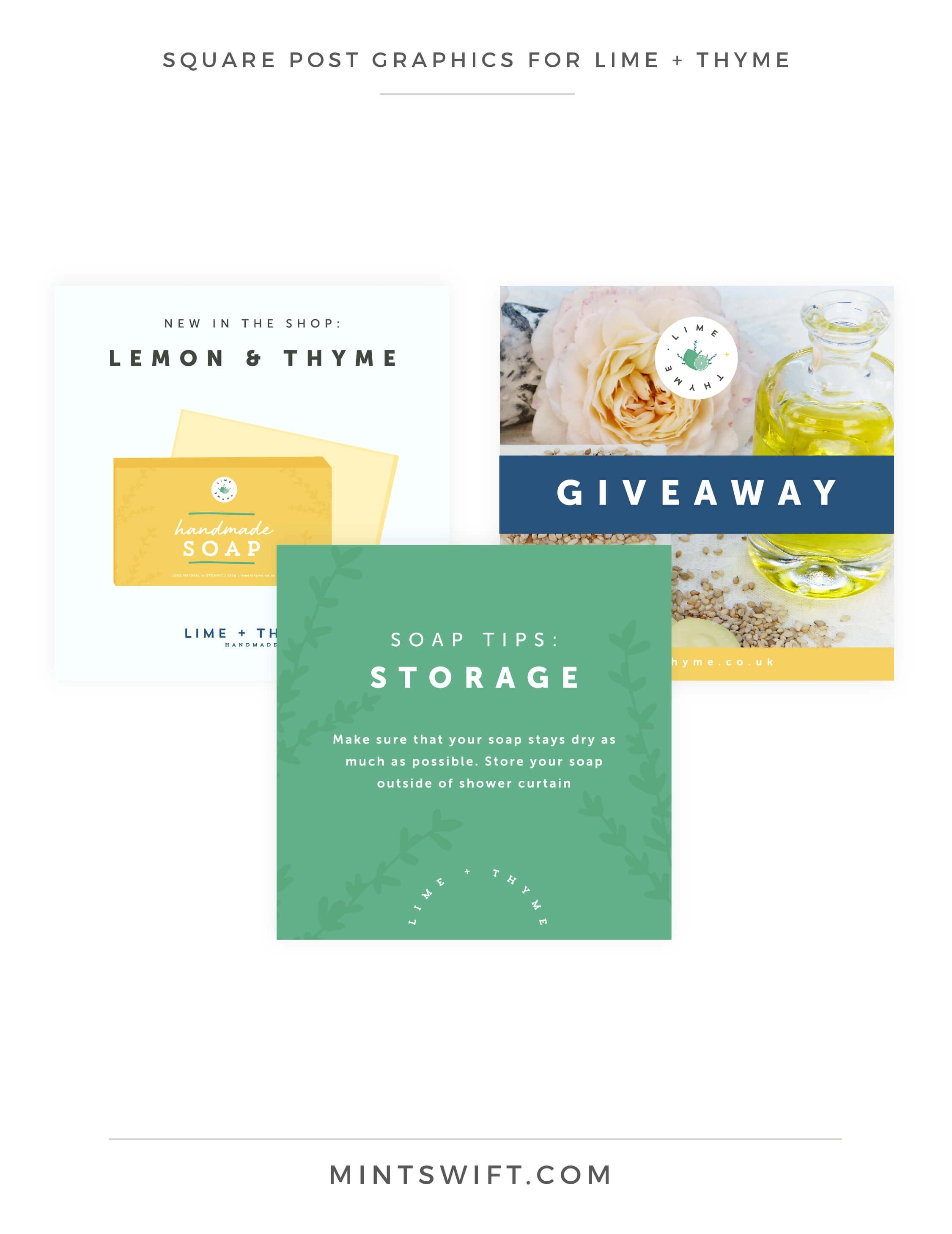 Lime + Thyme - Square Post Graphics - Brand & Website Design - MintSwift