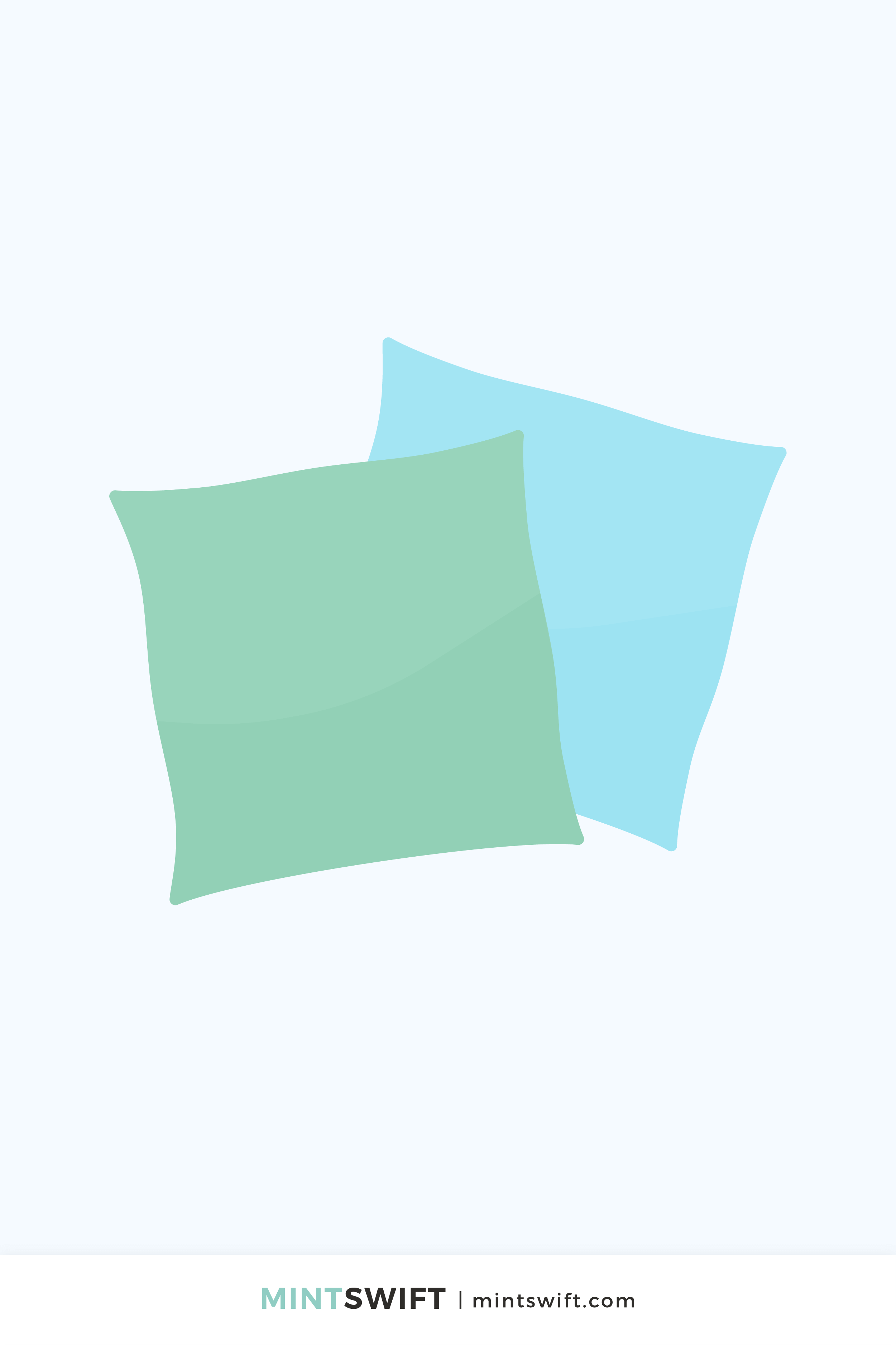 Vector illustration of blue and green pillows in flat design style on a light grey background