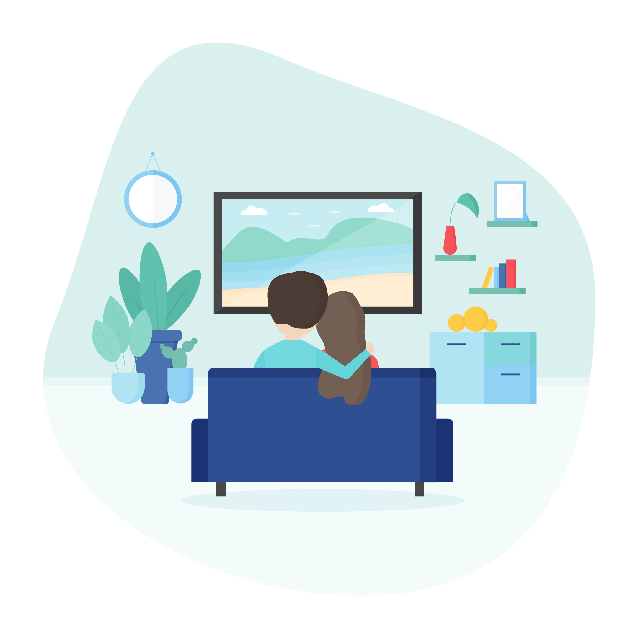 Vector illustration of a couple in the living room hugging while sitting on the sofa and watching photos on tv in flat design style