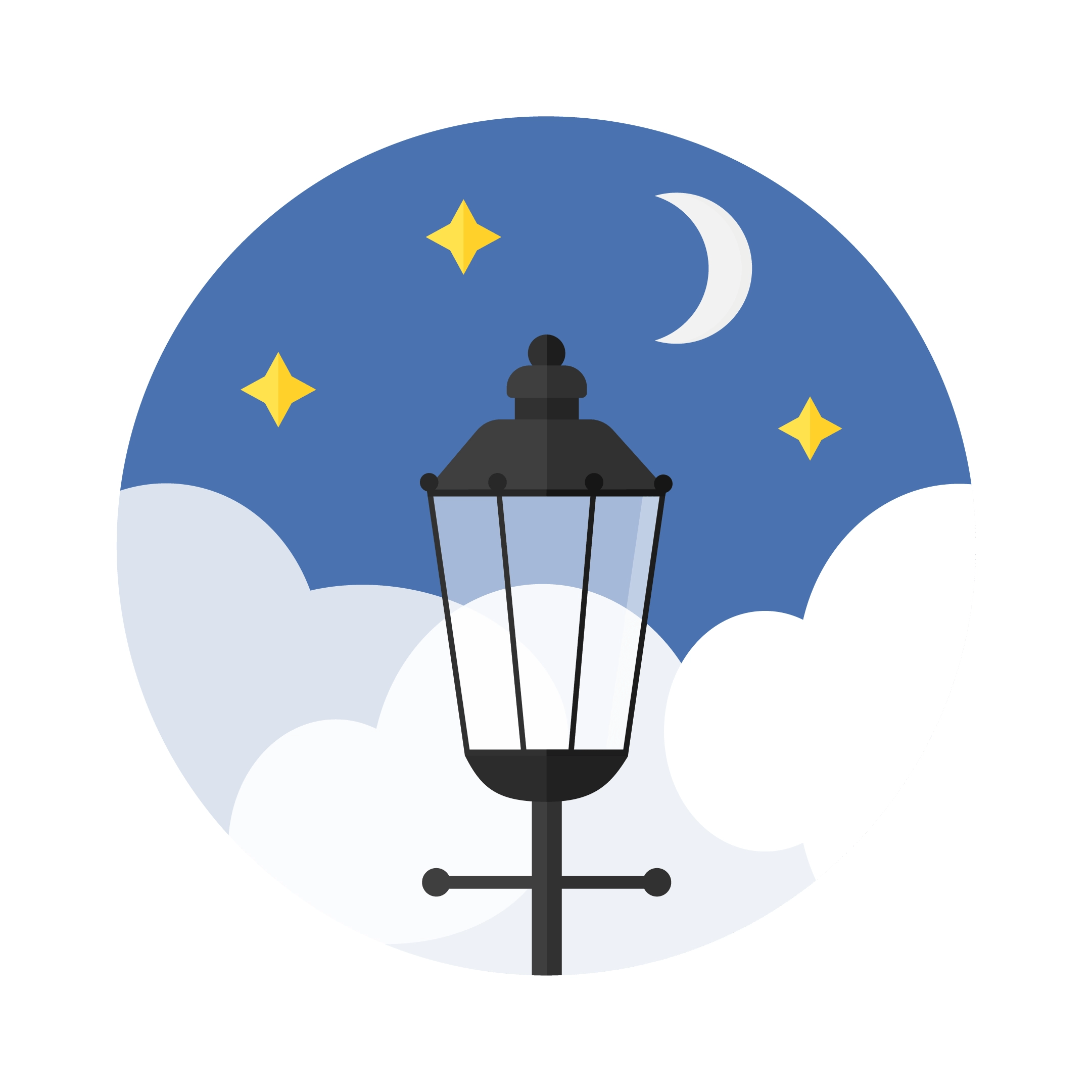 Vector illustration of a night scene with moon & stars with London's street lamp in flat design style