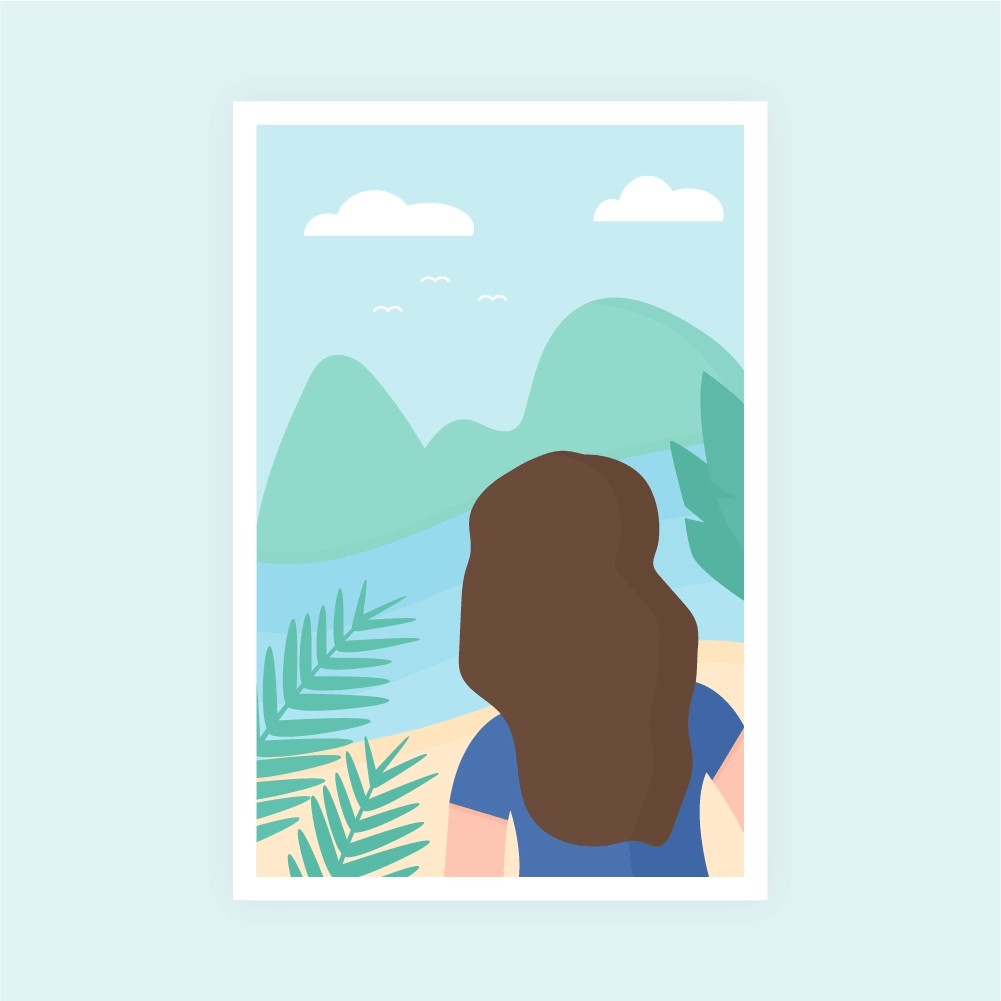 Flat illustration scene with a woman from behind standing on a tropical island with palm leaves in the foreground