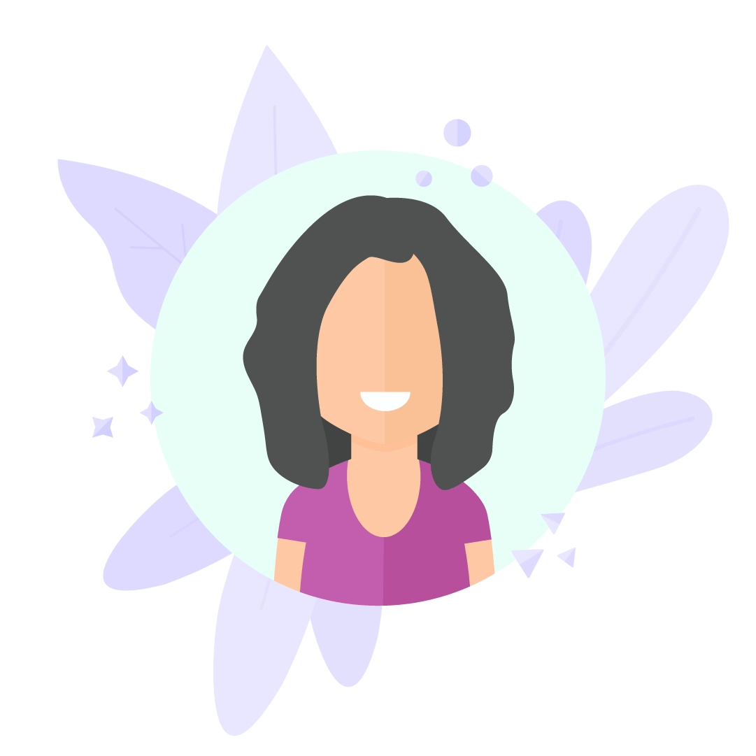Vector illustration of a Woman with Black Hair in a circle with Flowers in flat design style