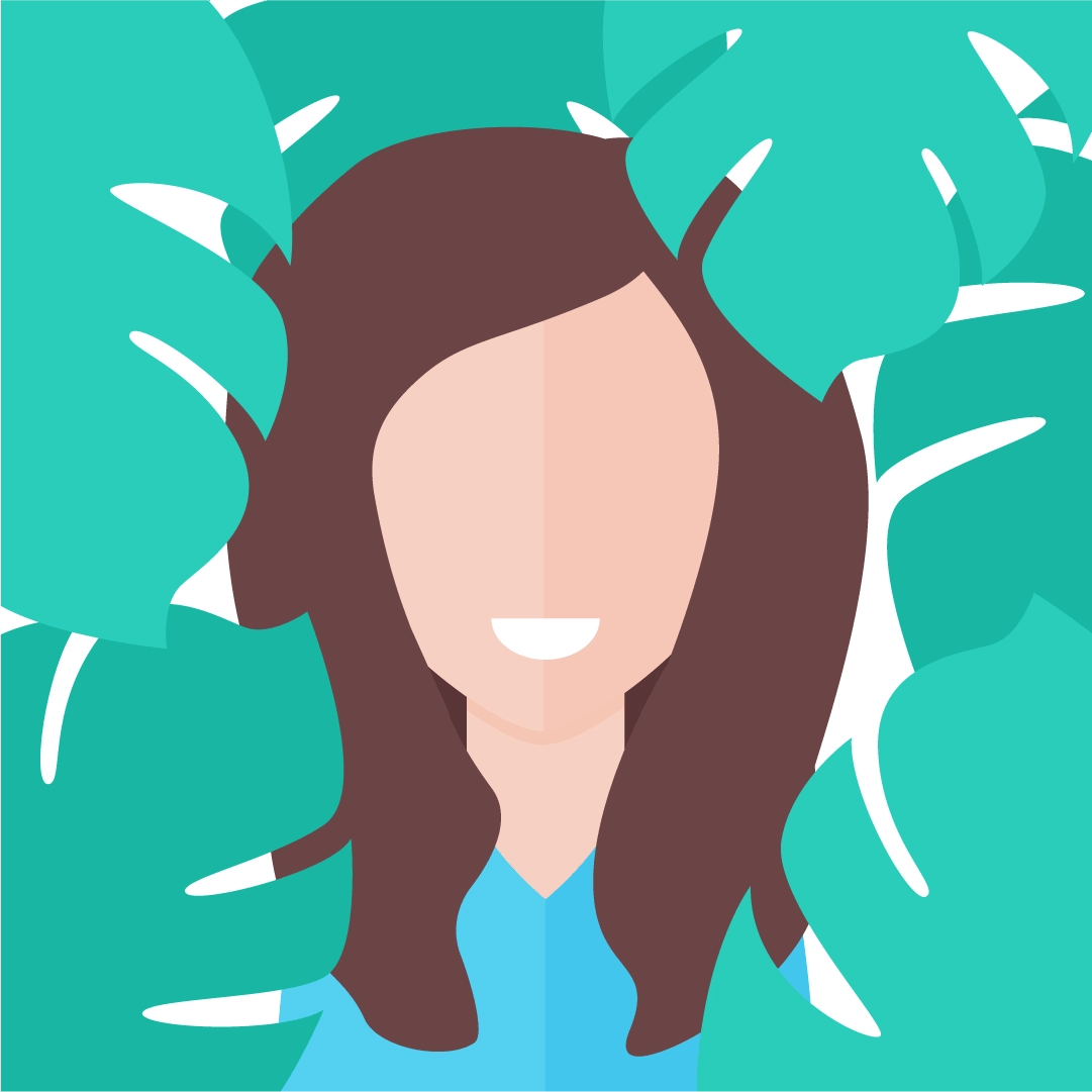Vector illustration of a Woman with burgundy hair and Monstera Plant's leaves in the back in flat design style