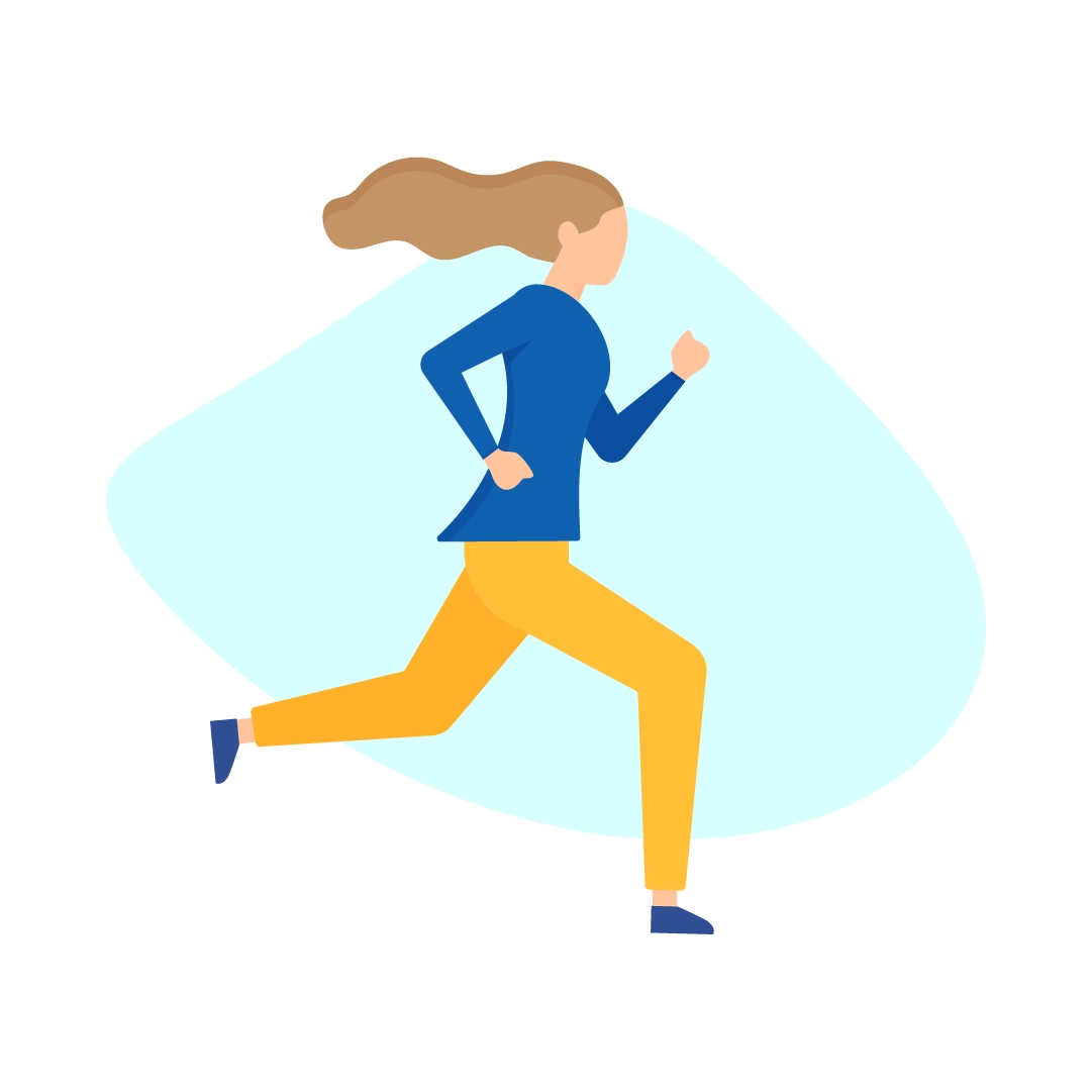 Vector illustration of a Woman running for International Women's Day in flat design style