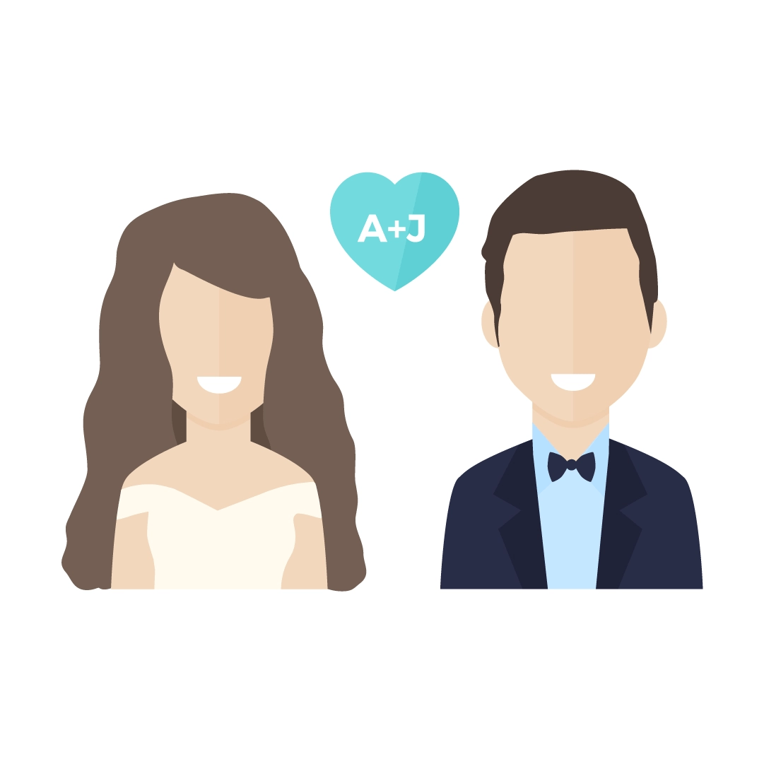 Vector illustration of My husband and I - our wedding avatars in flat design style